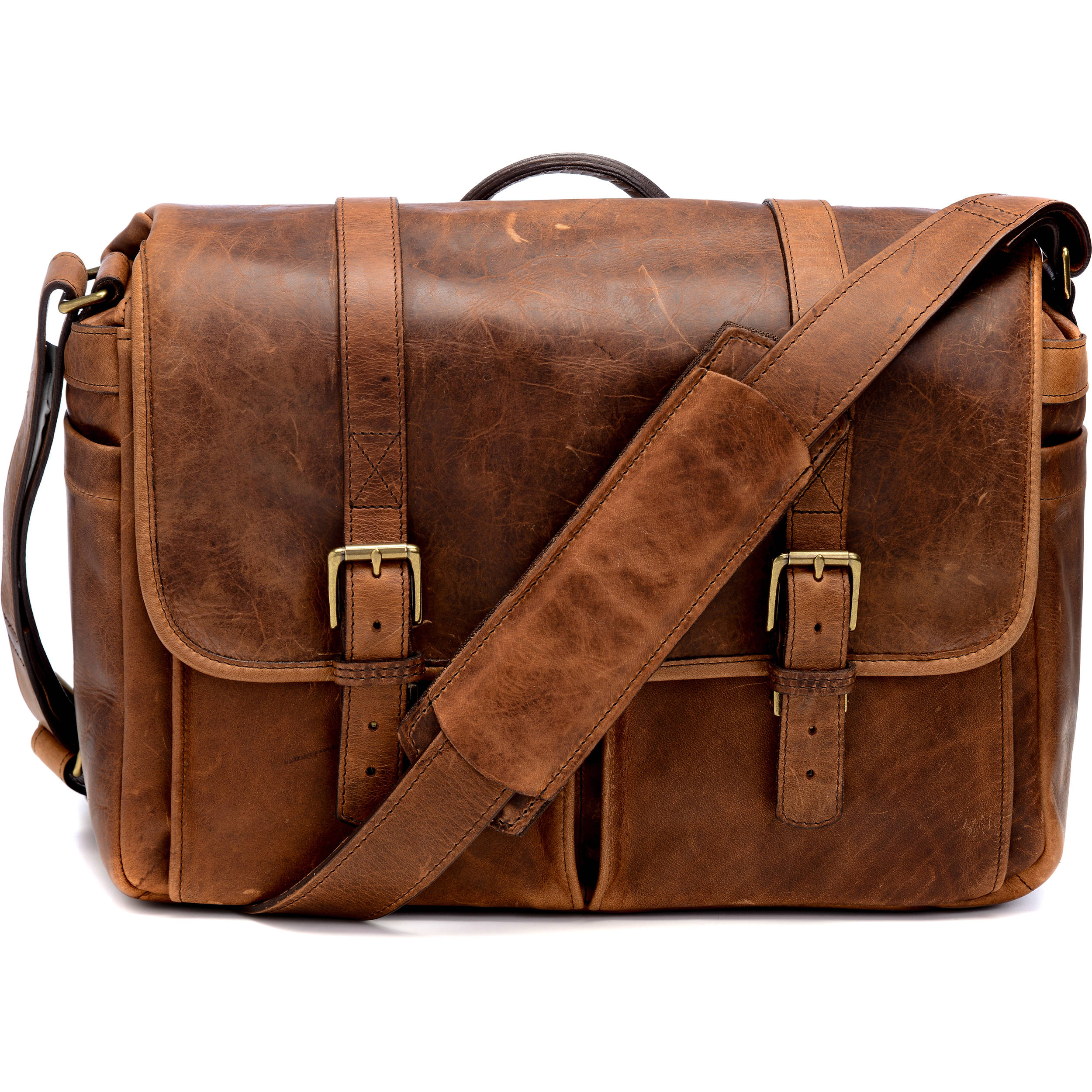 Ona Brixton Camera Laptop Messenger Bag Leather Antique Cognac