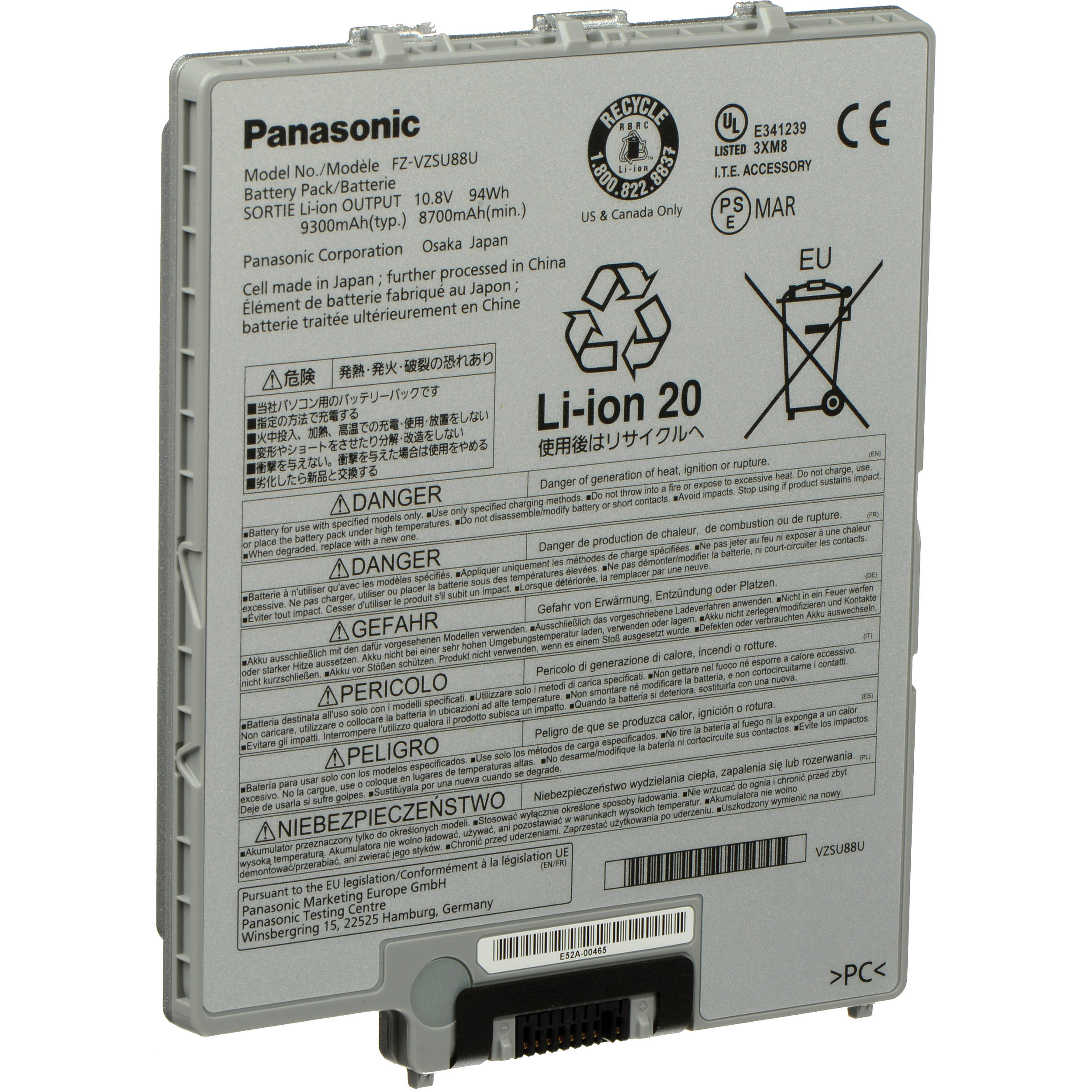 Panasonic 9 Cell Lithium Ion Battery Pack Fz Vzsu88u Bh Photo Lithiumion Charger One Schematic For Toughpad G1
