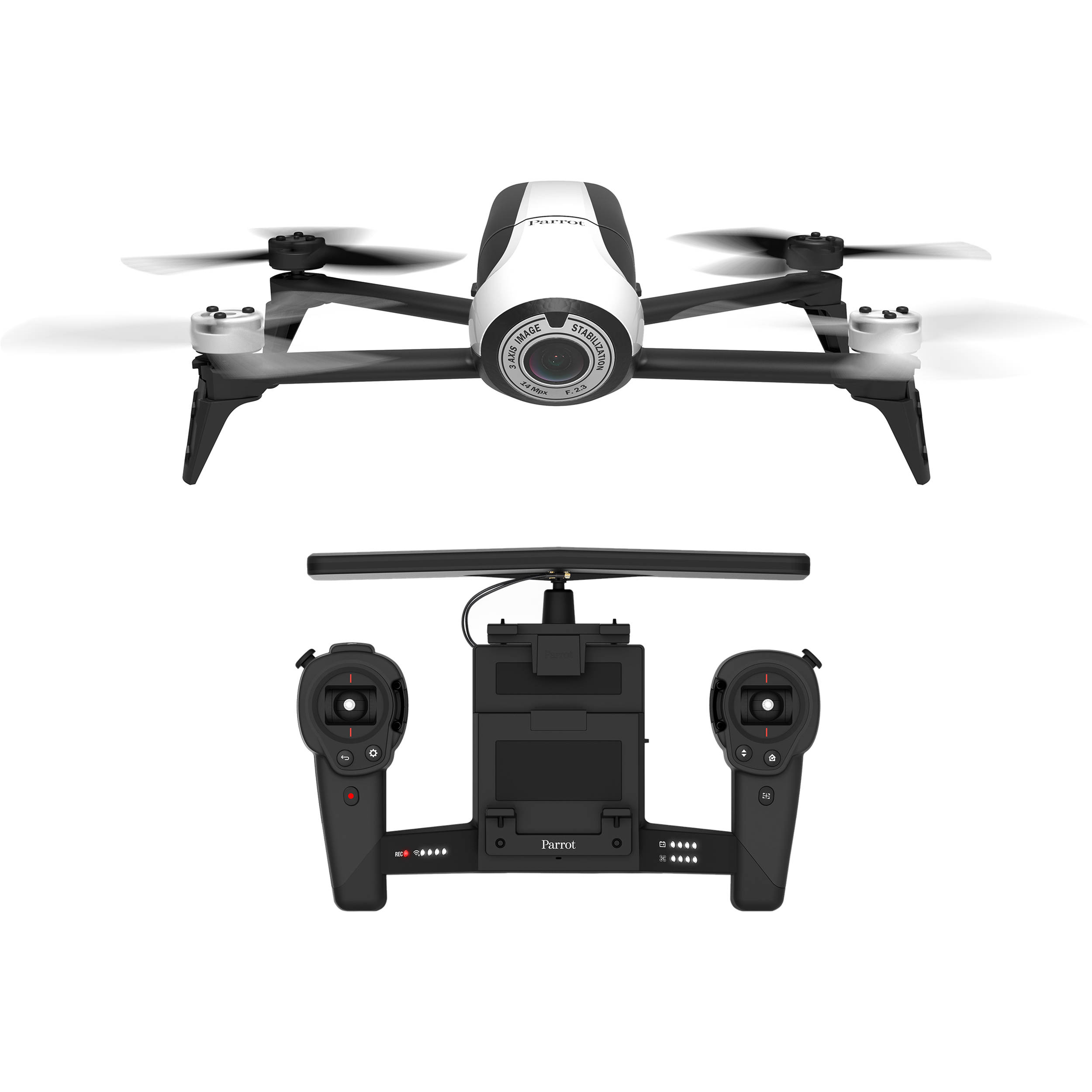 parrot bebop 2 drone with skycontroller white pf726103 b h. Black Bedroom Furniture Sets. Home Design Ideas
