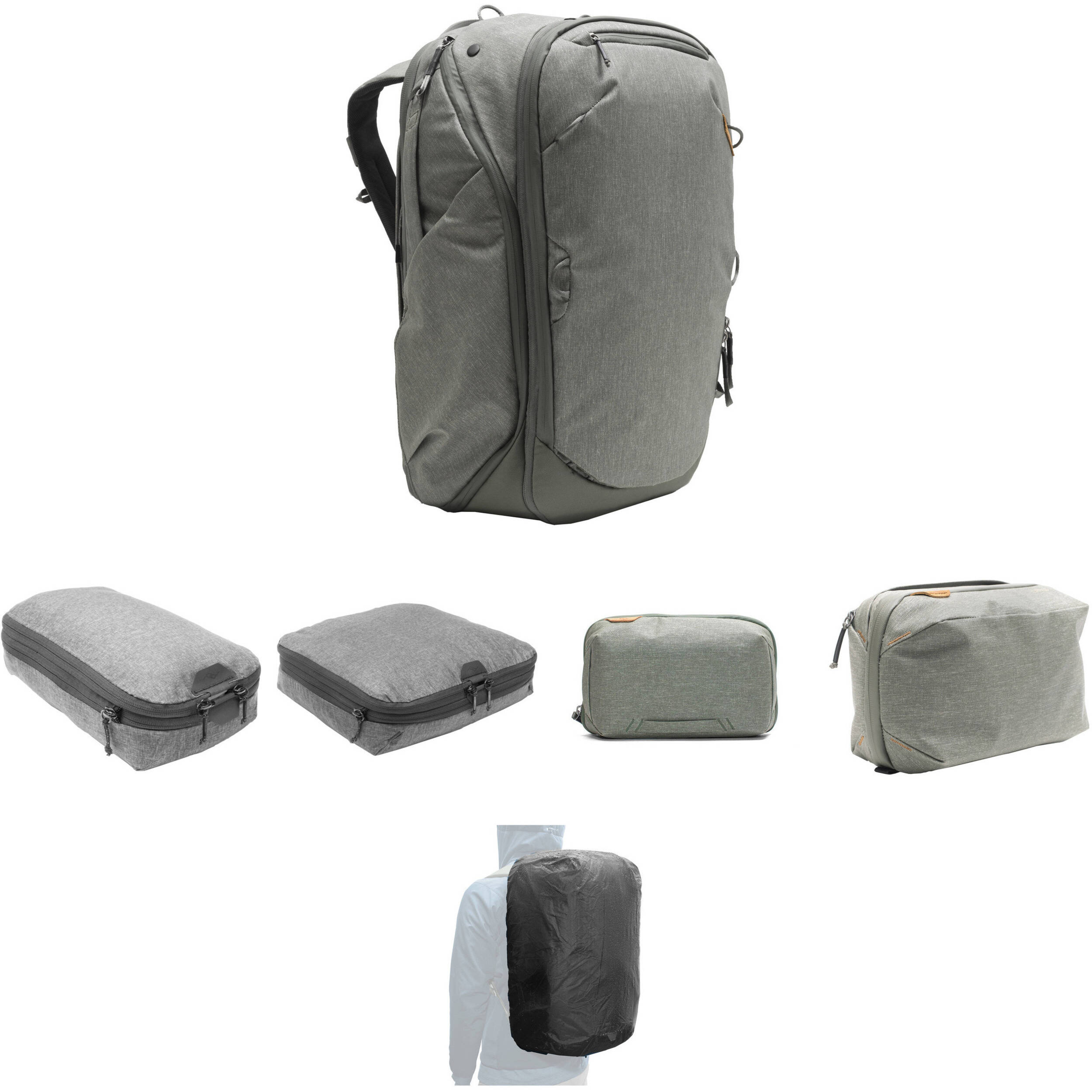 c4a882ca6b19 Travel Backpack, Tech Pouch, Wash Pouch, Rain Fly, Small and Medium Packing  Cube (Sage)