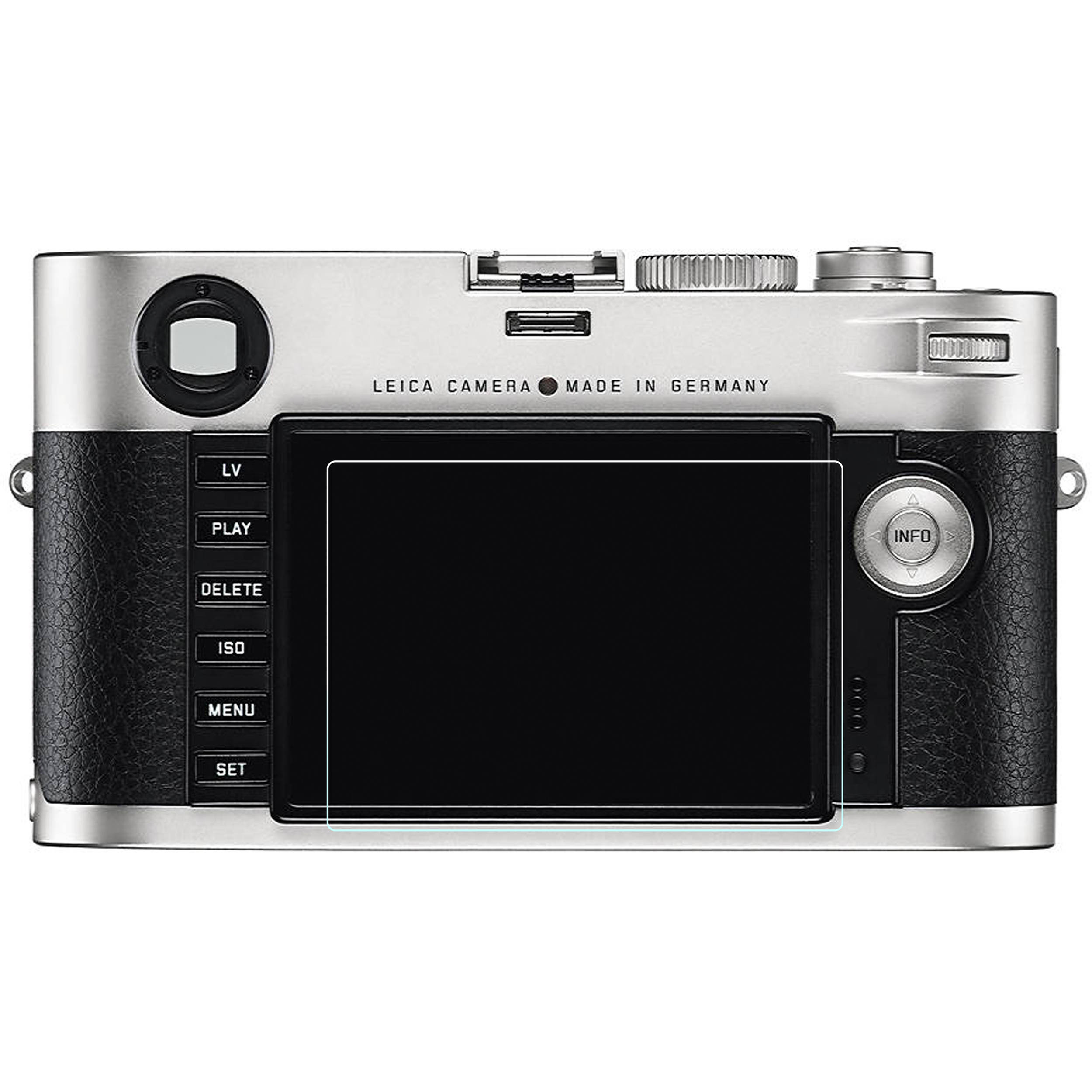 Phantom Glass LCD Screen Protector for Leica M (Typ 240). Shown in use, for illustrative purposes only