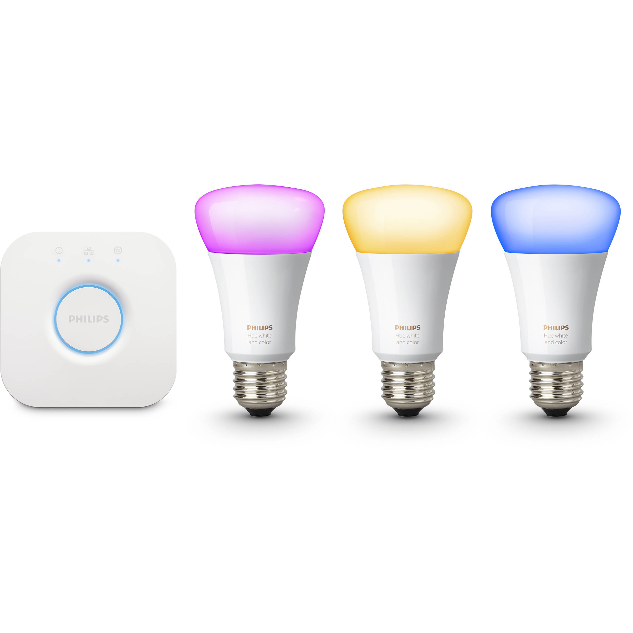 philips hue white and color ambiance a19 starter kit 464479 b h. Black Bedroom Furniture Sets. Home Design Ideas