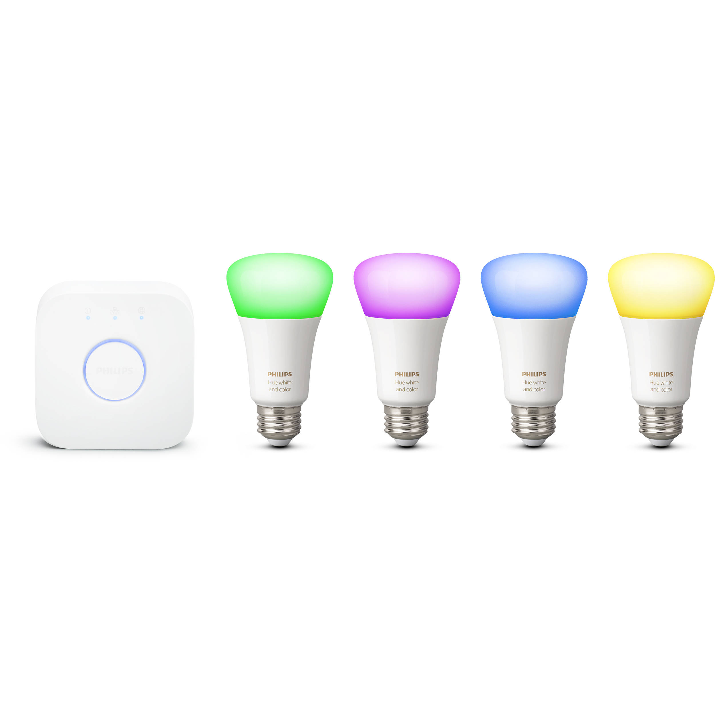 Philips Hue A19 Starter Kit White Color Ambiance 4 Pack