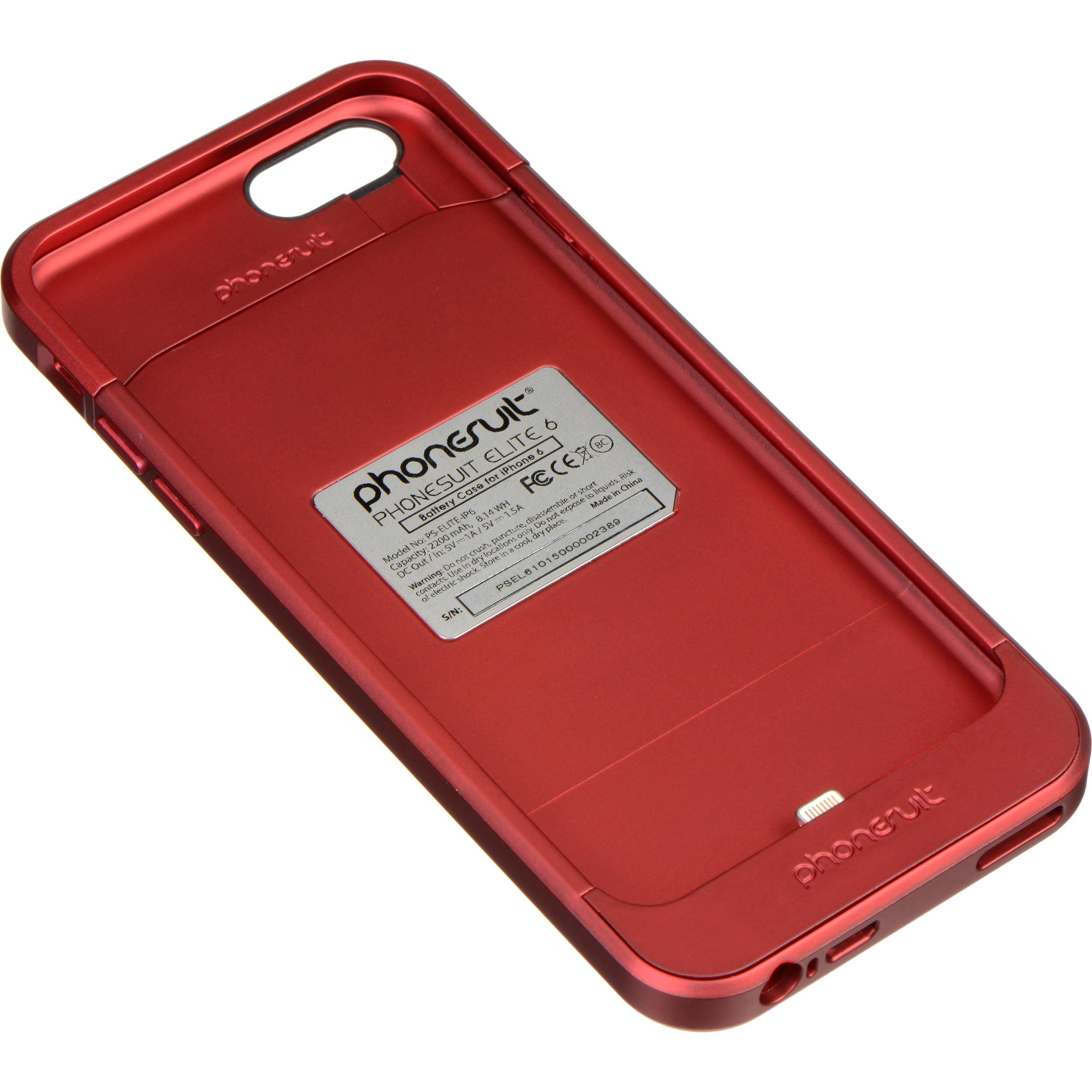 phonesuit elite 6 battery case for iphone 6 ps elite ip6 red b h. Black Bedroom Furniture Sets. Home Design Ideas