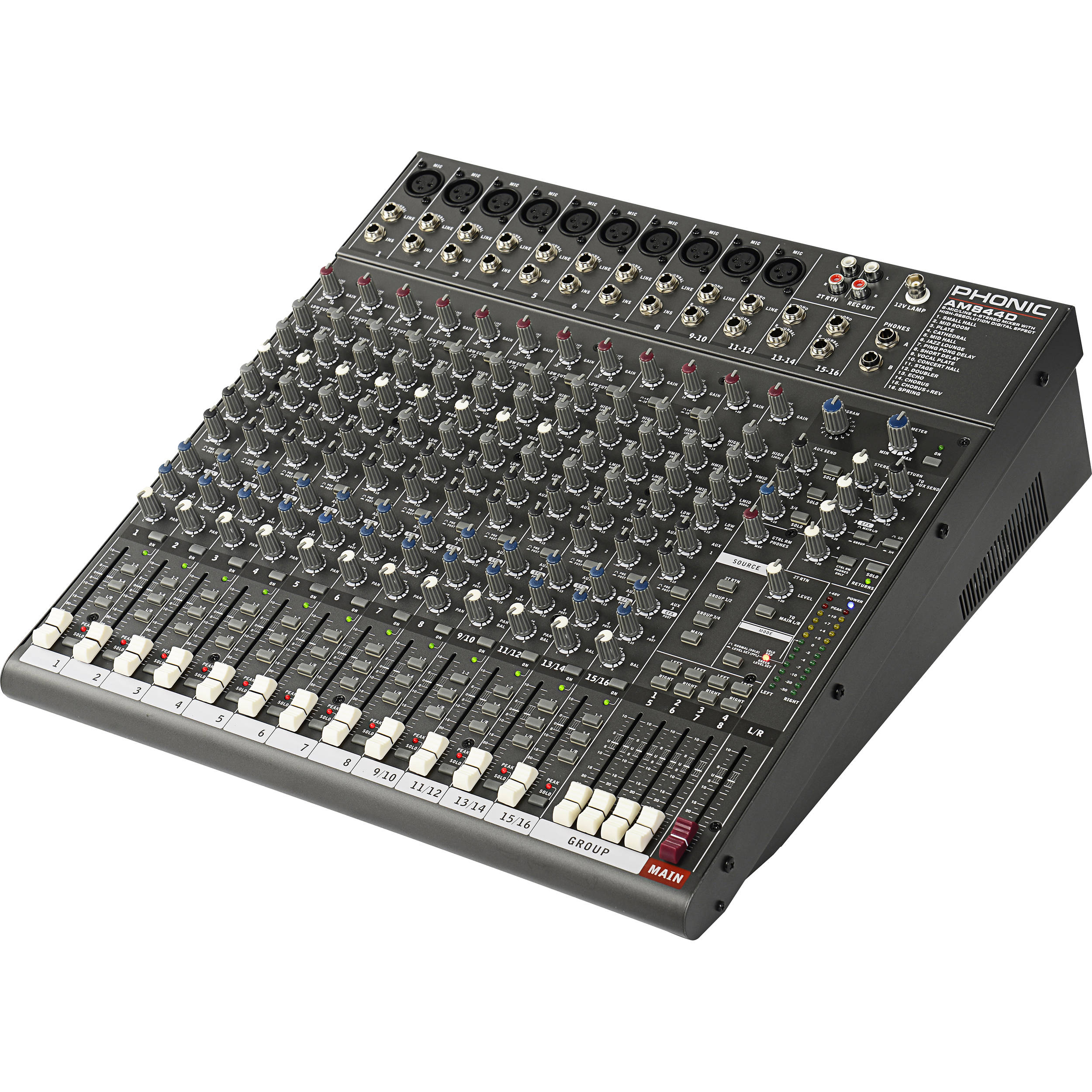 phonic am 844d 8 mic line 4 stereo mixer with dfx and am 844d