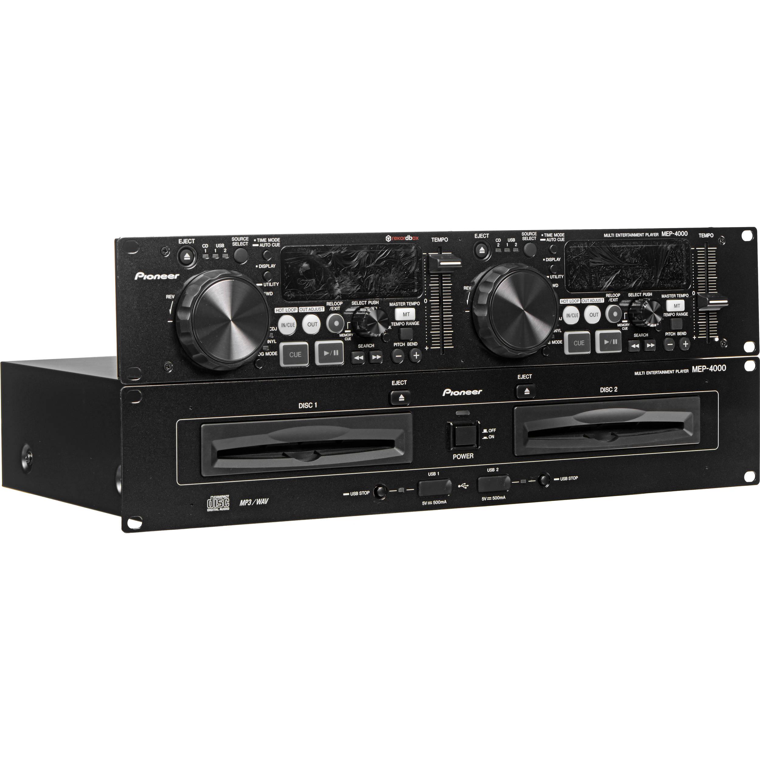 pioneer dj mep 4000 dual media cd player rekordbox mep4000 b h. Black Bedroom Furniture Sets. Home Design Ideas