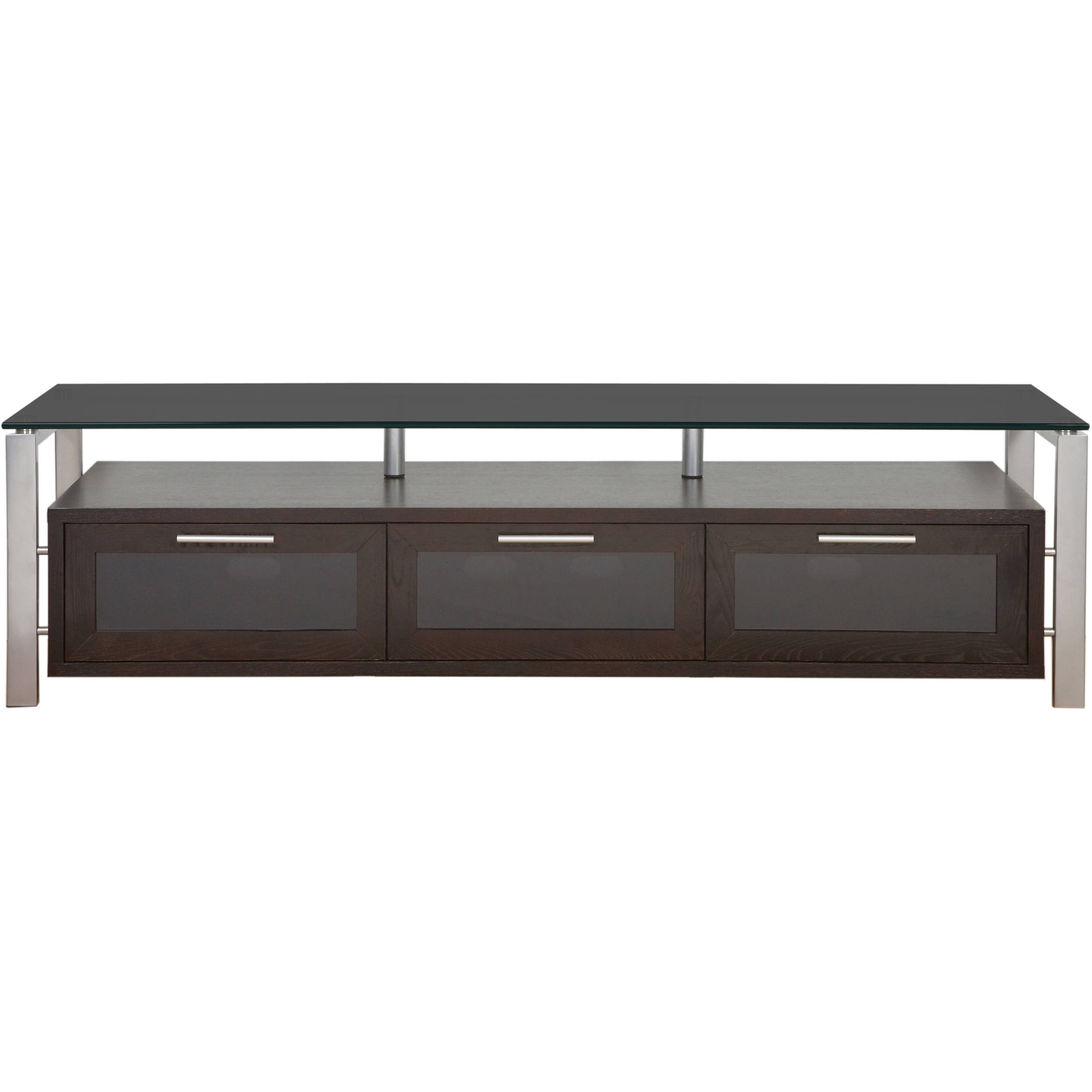 PLATEAU Decor 71 TV Stand (Espresso Finish, Silver Legs, Black Glass)