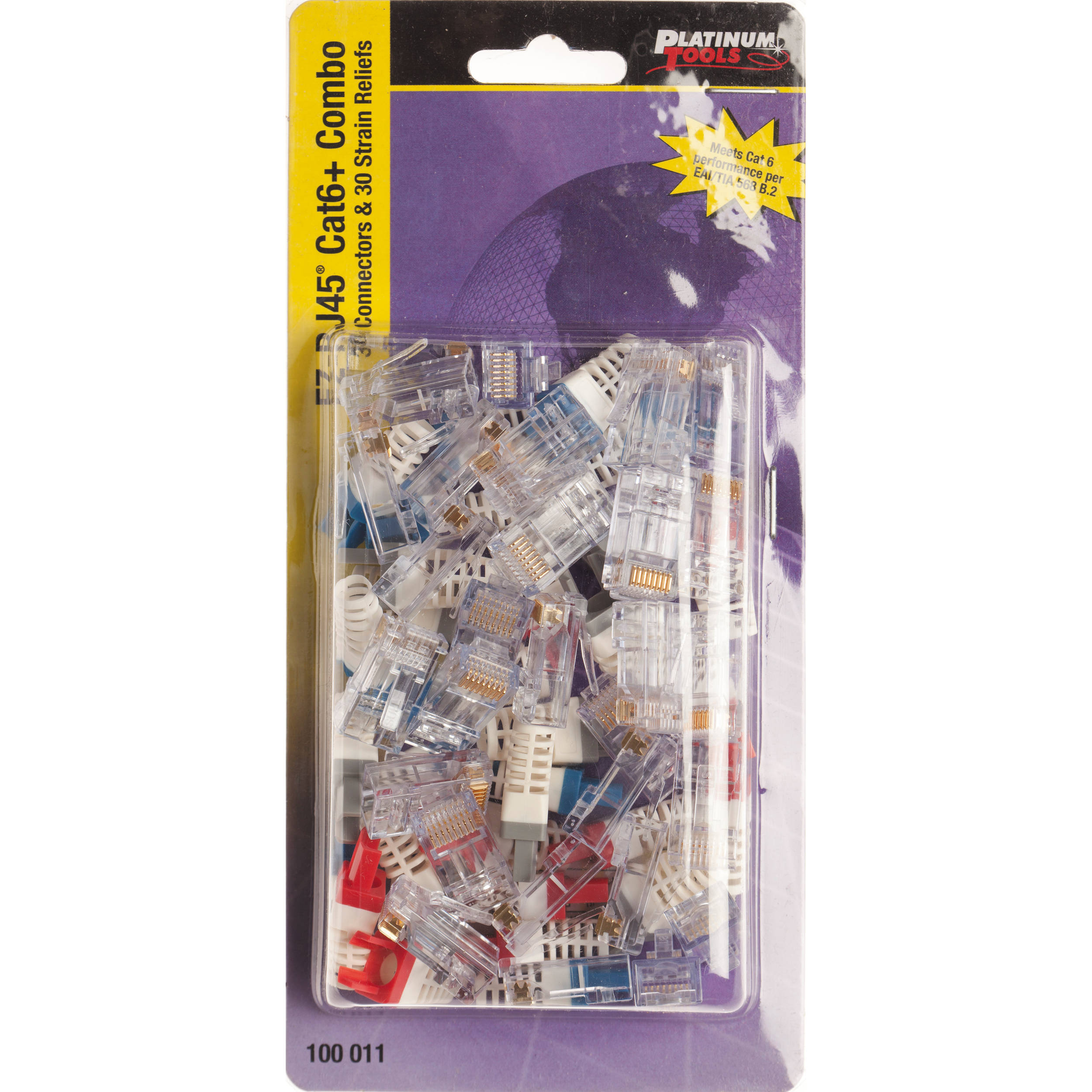Platinum Tools Ez Rj45 Cat6 Connector And Strain Relief 100011c For A Security Camera Wire Diagram Furthermore Cat 6 Cable Termination Combo Kit 30 Pieces