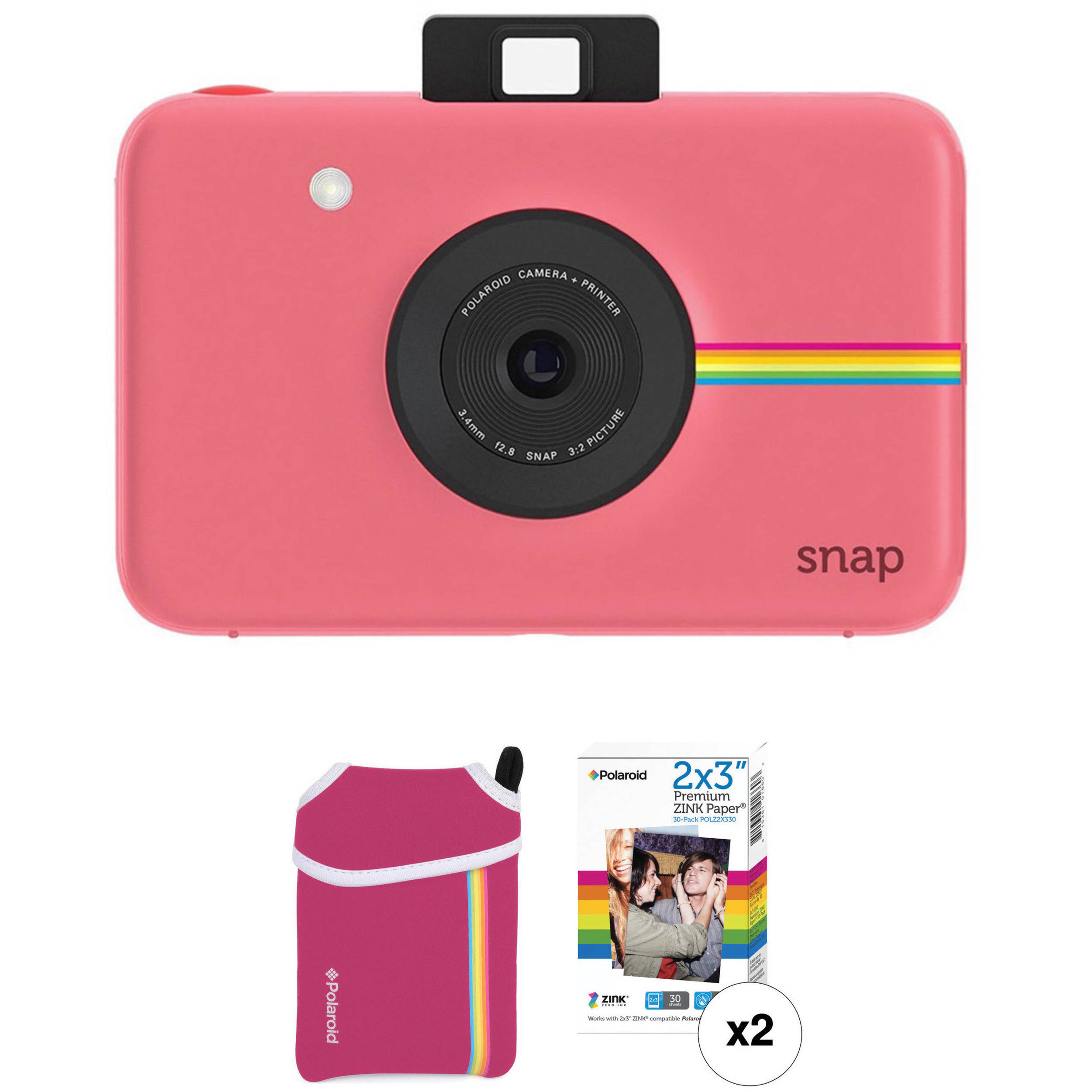 5a0e67921792 Polaroid Snap Instant Digital Camera with ZINK Photo Paper and Pouch Kit ( Pink)
