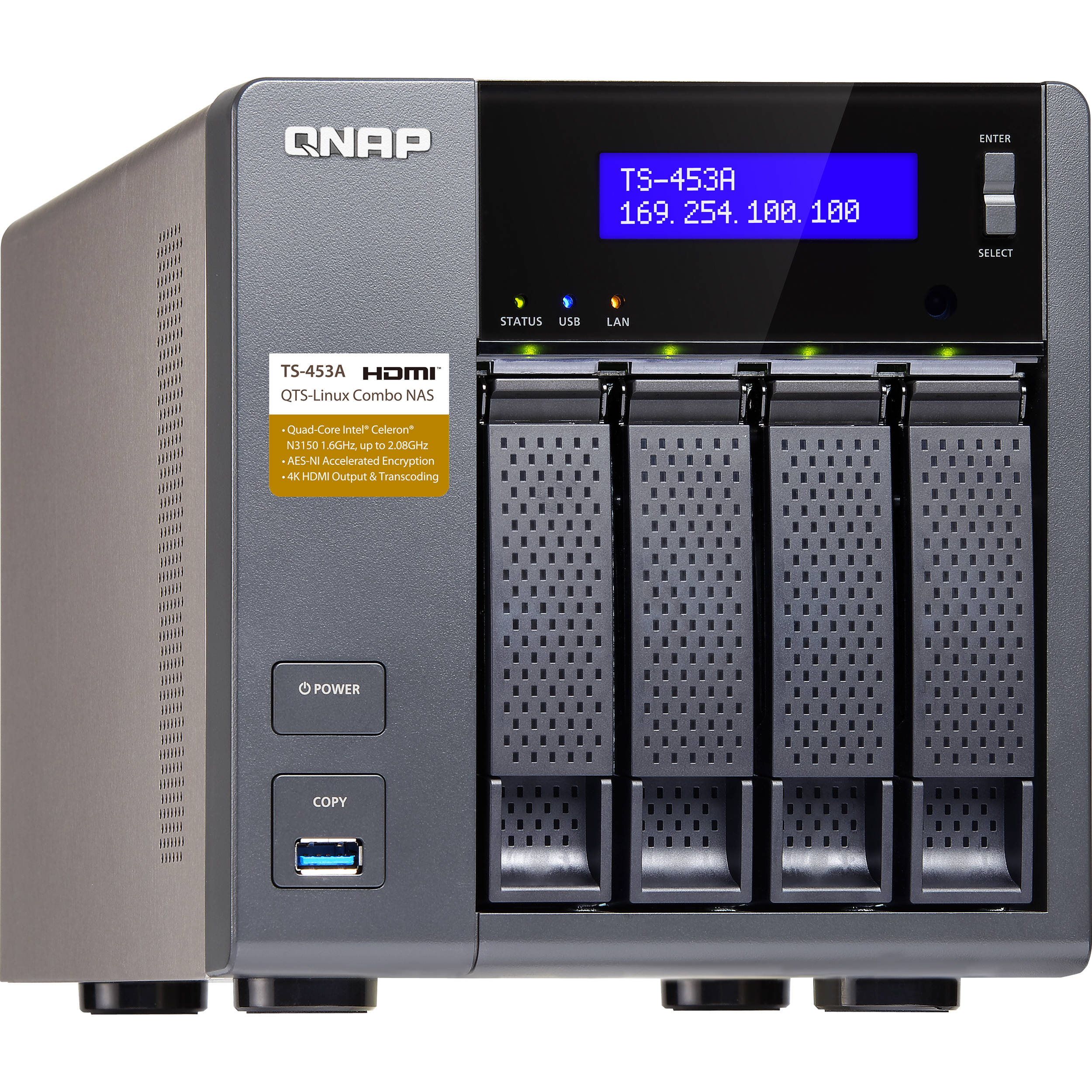 Qnap ts 453a four bay nas enclosure ts 453a 4g us b h photo for Storage bay
