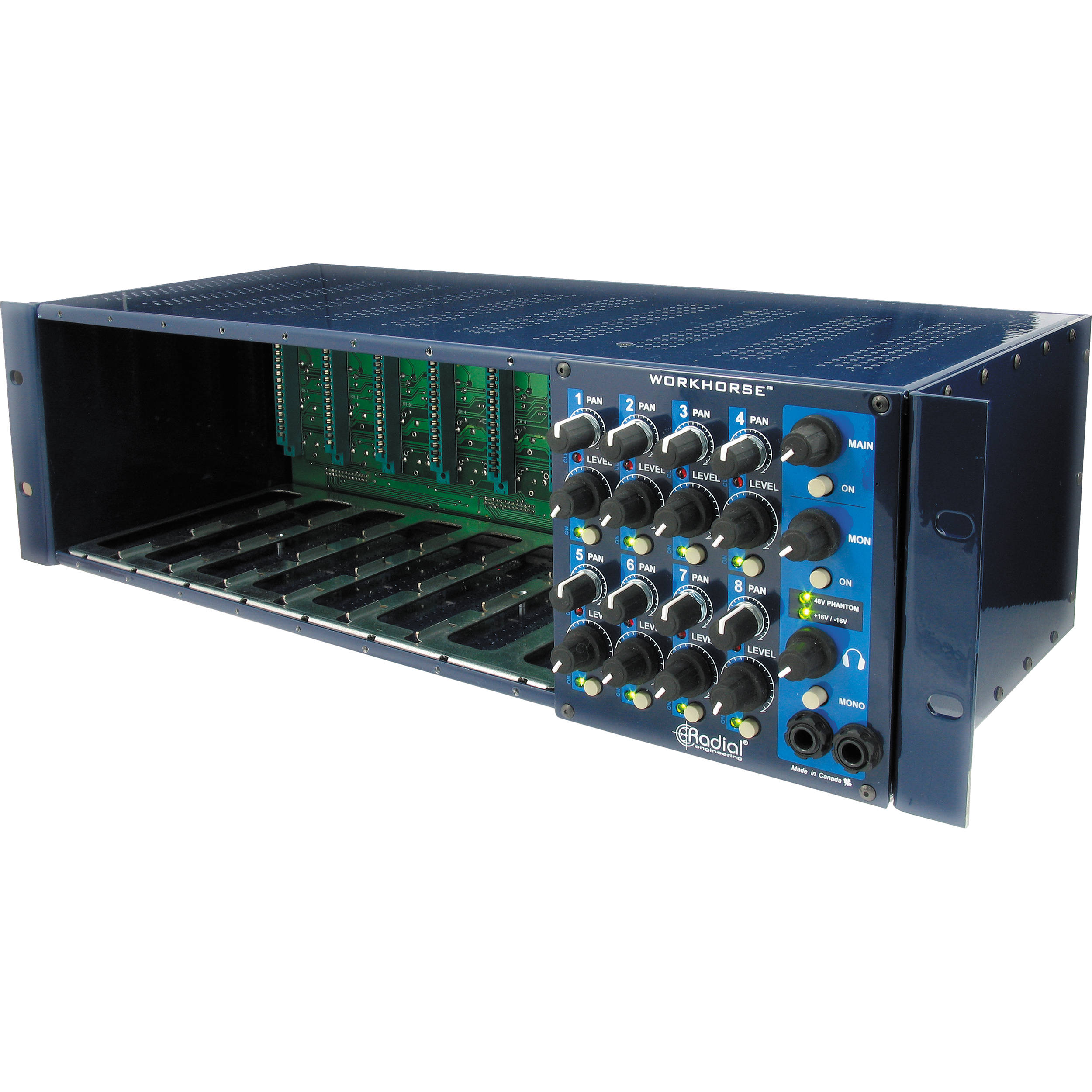 Radial Engineering 500 Series Workhorse 8 Module Rack R700 0100 Circuit Compact Mixer Audio Volume Pan Amplifier With Channel