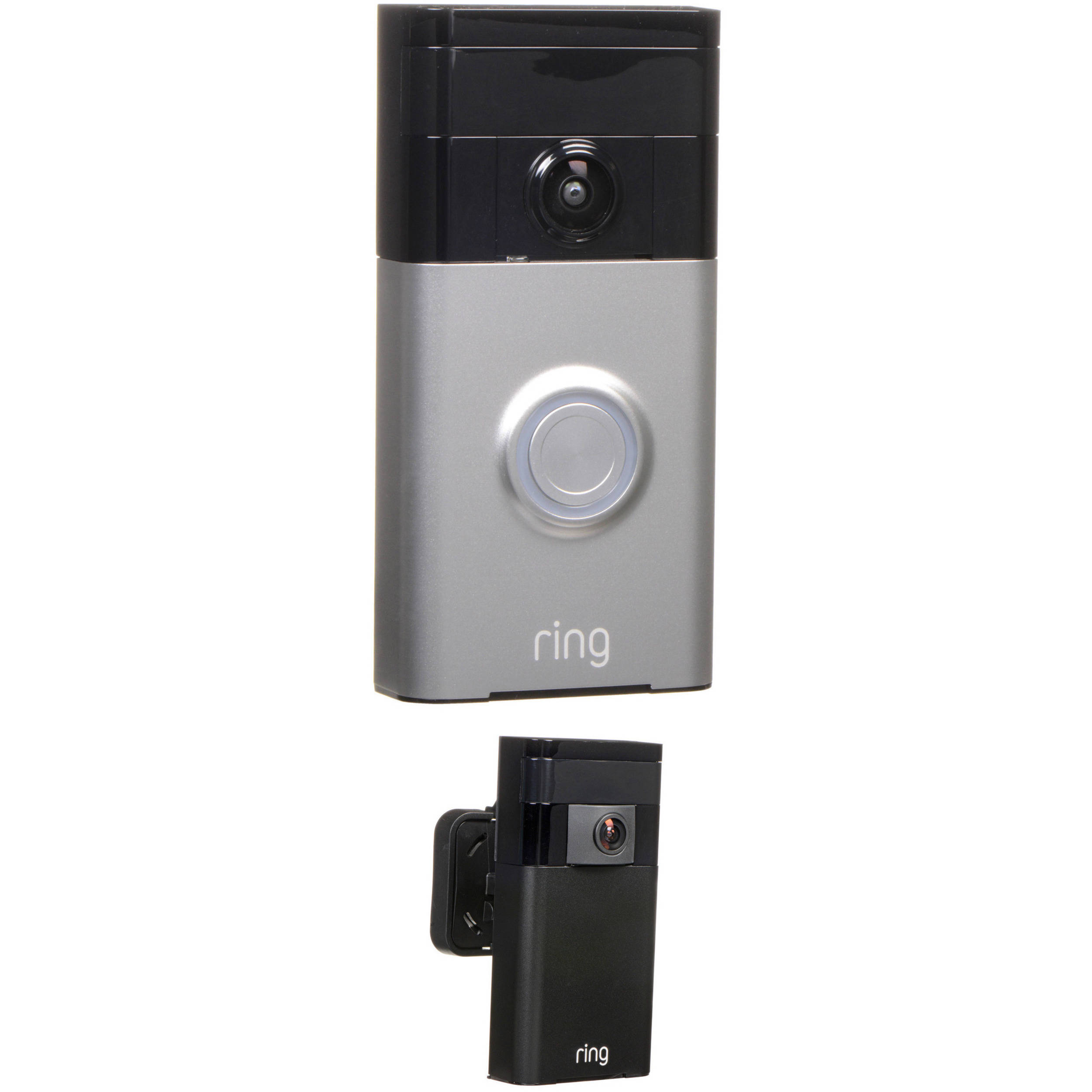 Ring Video Doorbell With Stick Up Camera Kit Satin Nickel