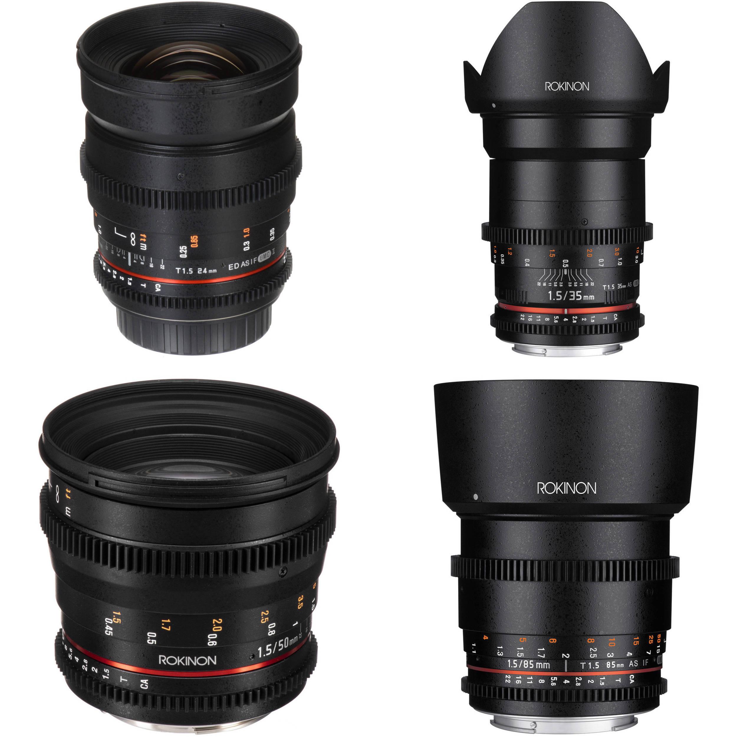 Rokinon 24 35 50 85mm T1 5 Cine DS Lens Bundle for