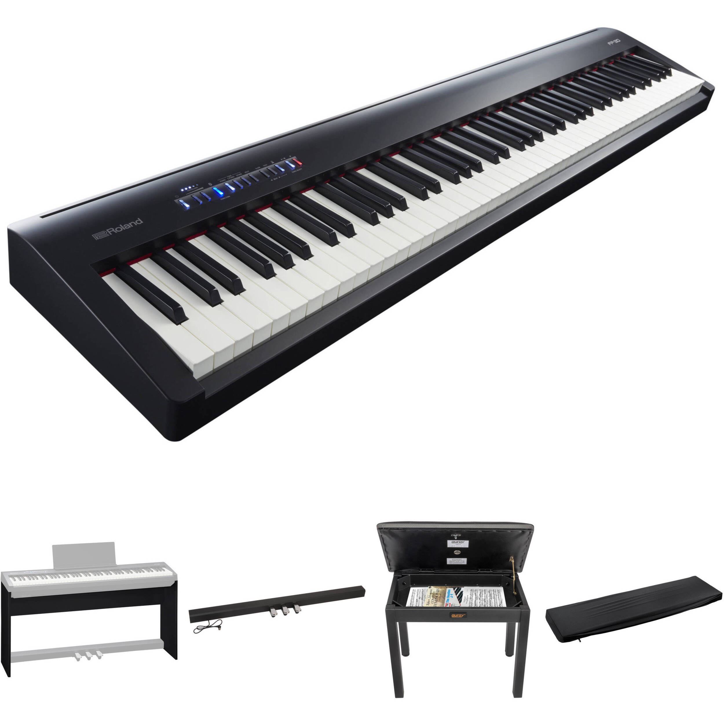 roland fp 30 digital piano kit with stand pedal unit bench. Black Bedroom Furniture Sets. Home Design Ideas
