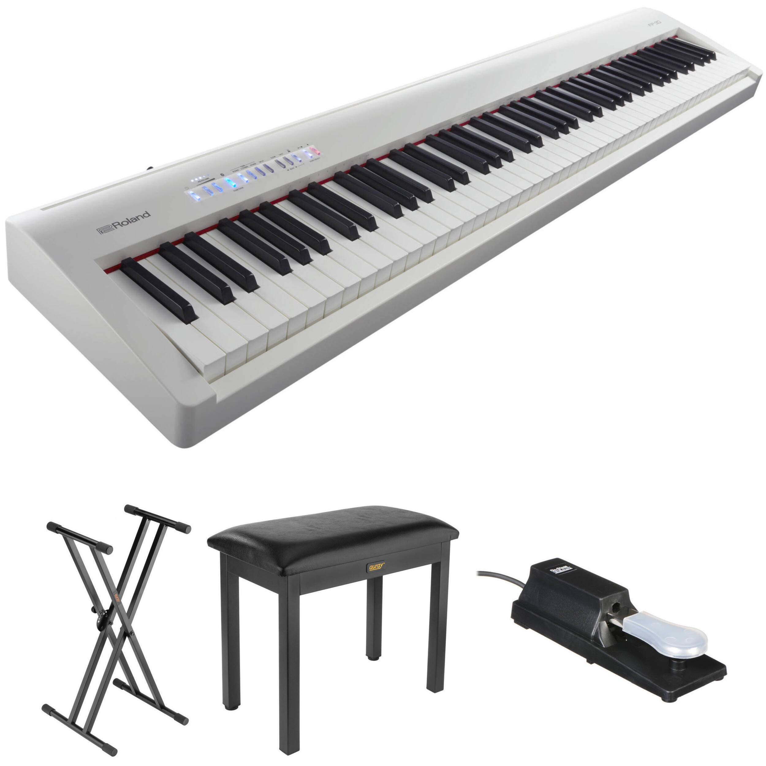 roland fp 30 digital piano kit with stand bench and sustain. Black Bedroom Furniture Sets. Home Design Ideas