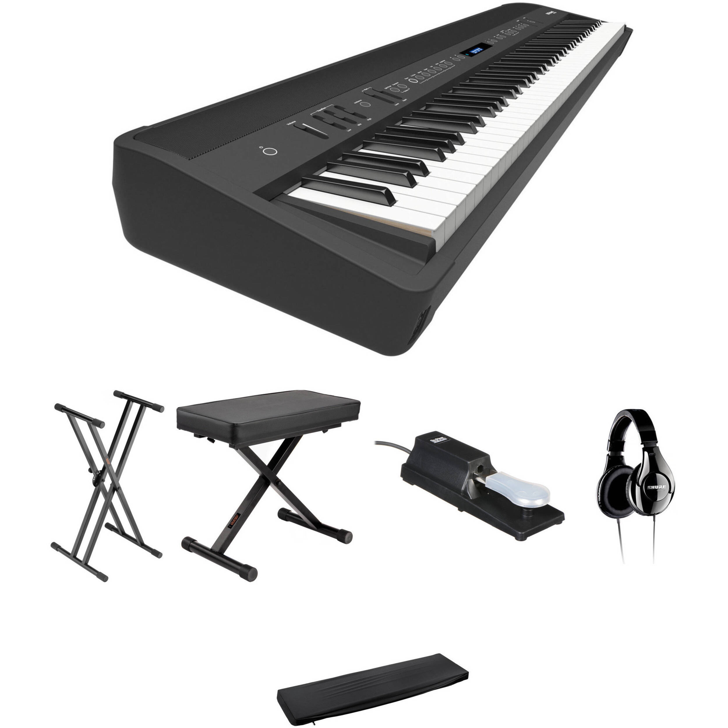 roland fp 90 88 key digital piano kit with stand bench pedals. Black Bedroom Furniture Sets. Home Design Ideas