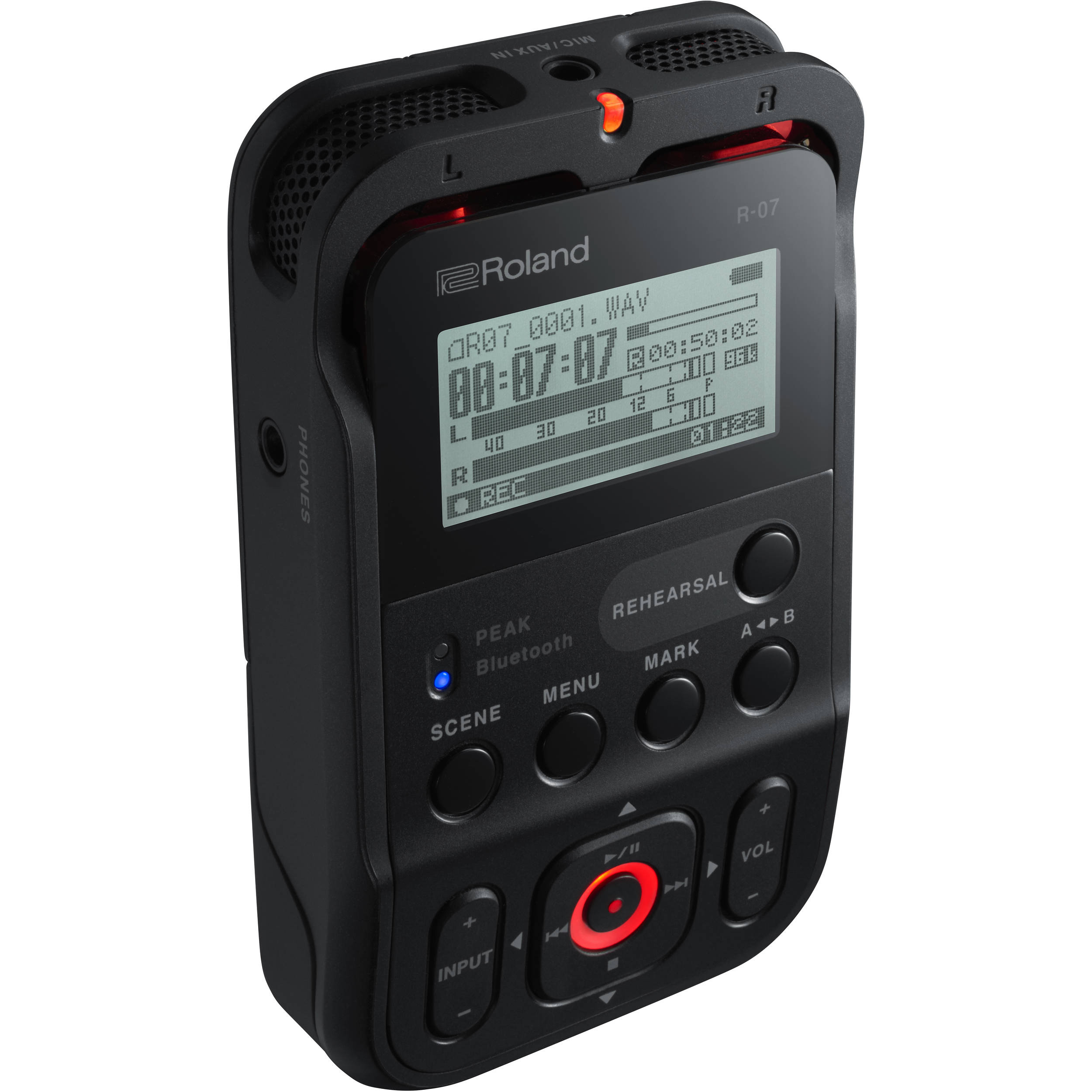roland r 07 portable audio recorder black r 07 bk b h photo. Black Bedroom Furniture Sets. Home Design Ideas
