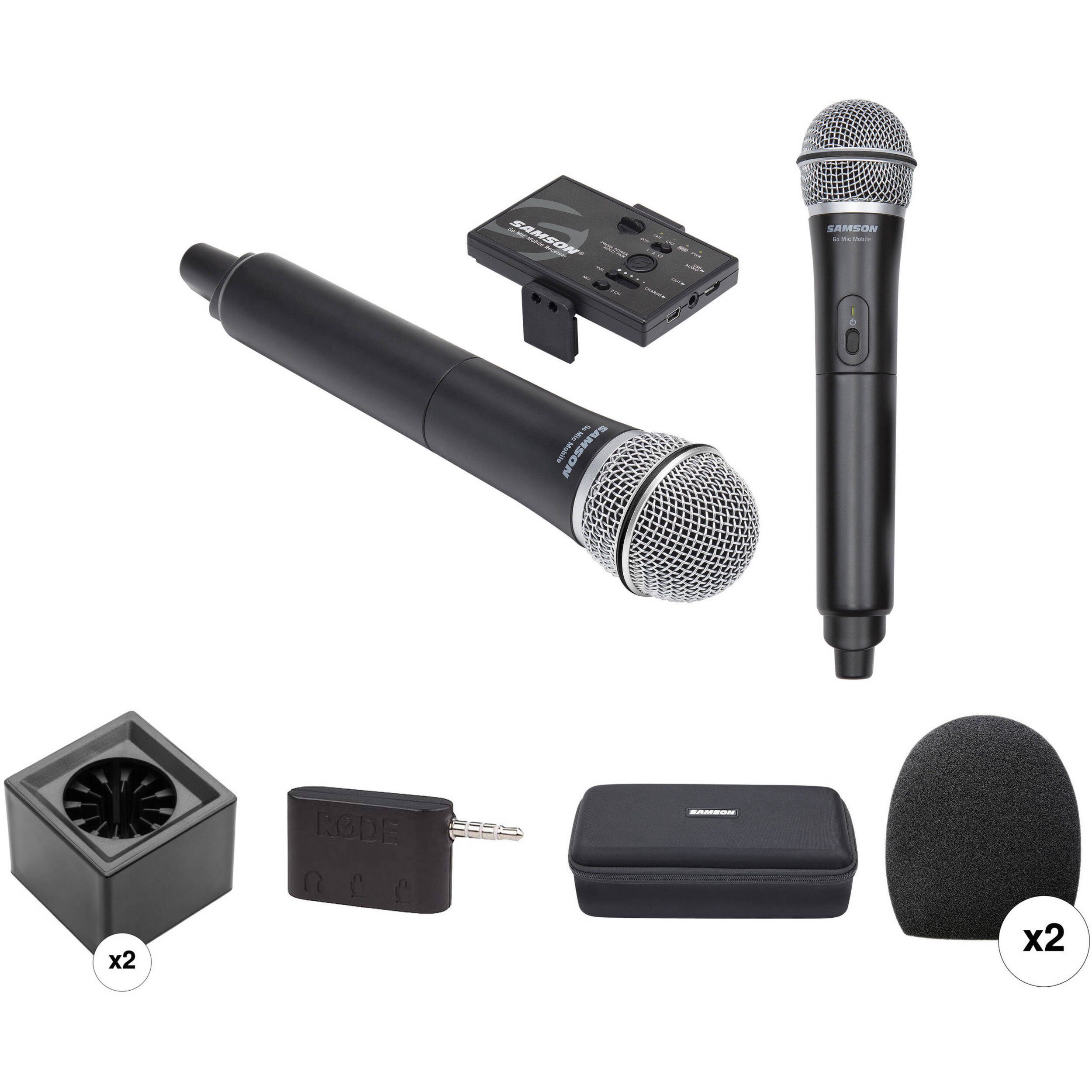Samson Go Mic Mobile Dual Channel Handheld System Kit Bh Photo Mini 35mm Portable Microphone With Clip For Smartphone Laptop Tablet Pc