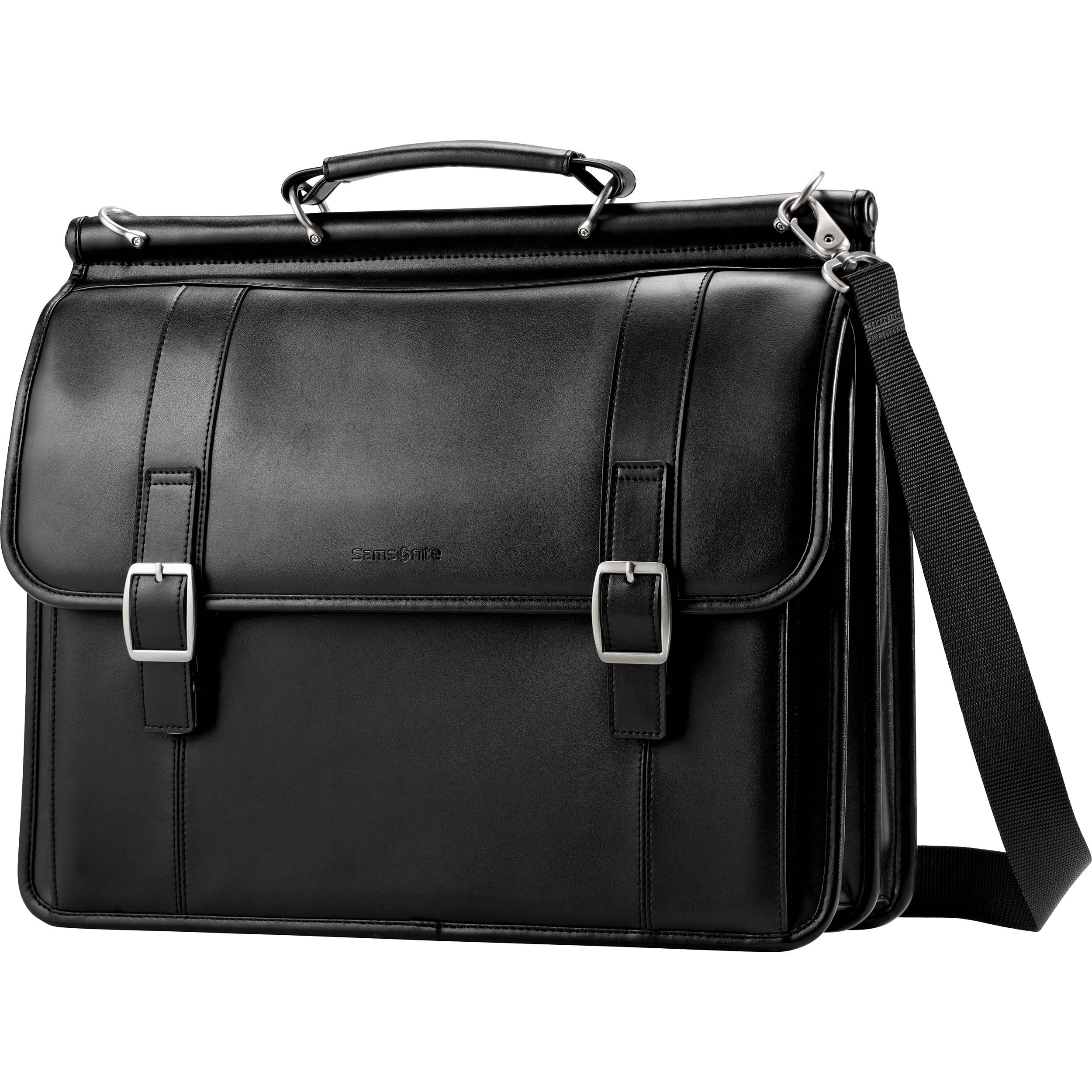 Leather Dowel Flapover Business Case (Black)