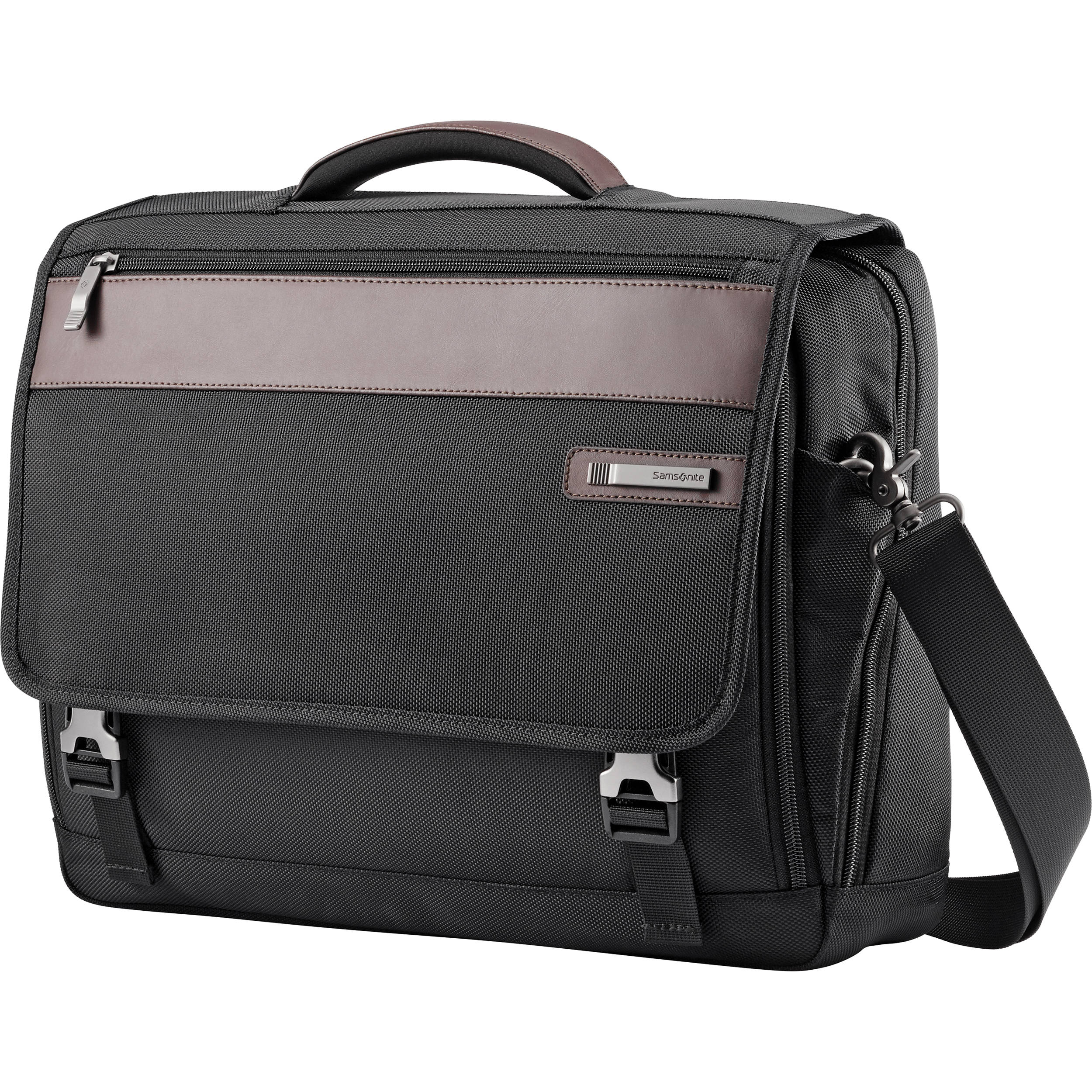 30175ed498 Samsonite Kombi Flapover Briefcase (Black/Brown) 92314-1051 B&H