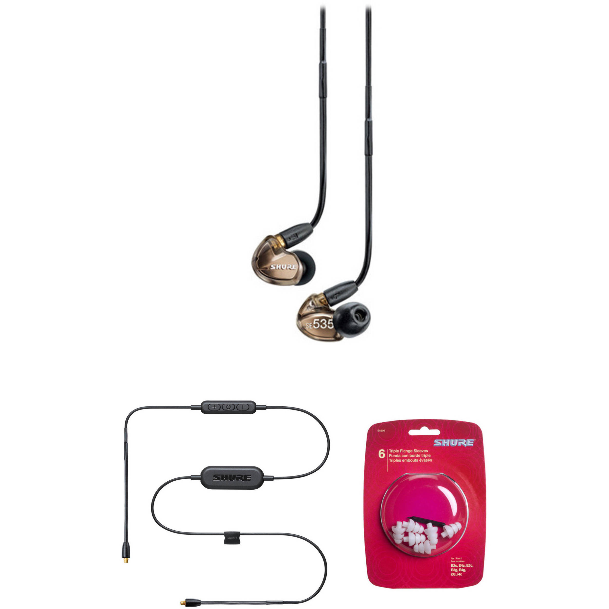 d87180e5e04 Shure SE535 Sound Isolating In-Ear Headphones and Bluetooth B&H