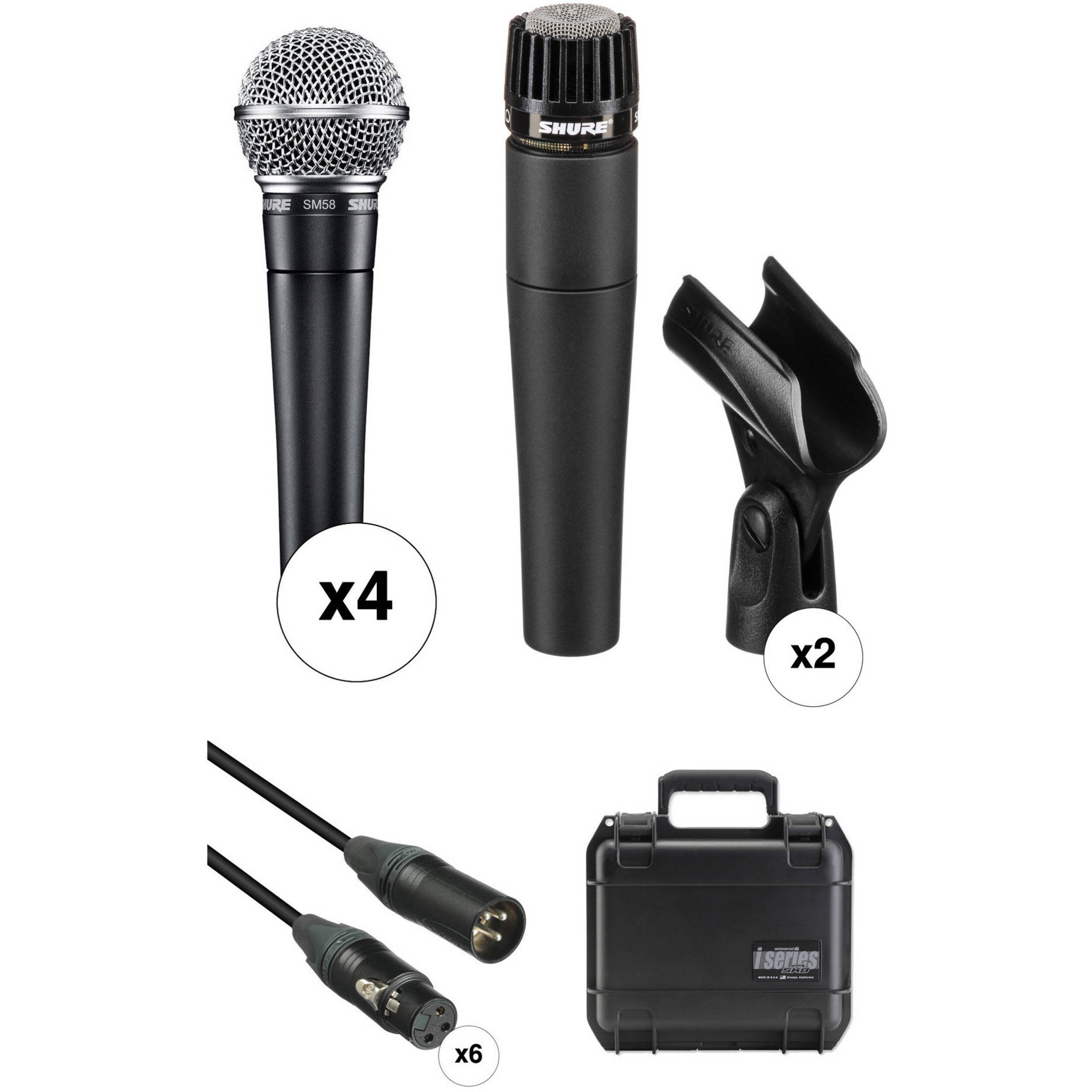 shure sm58 and sm57 microphones with cables and ata band kit b h. Black Bedroom Furniture Sets. Home Design Ideas