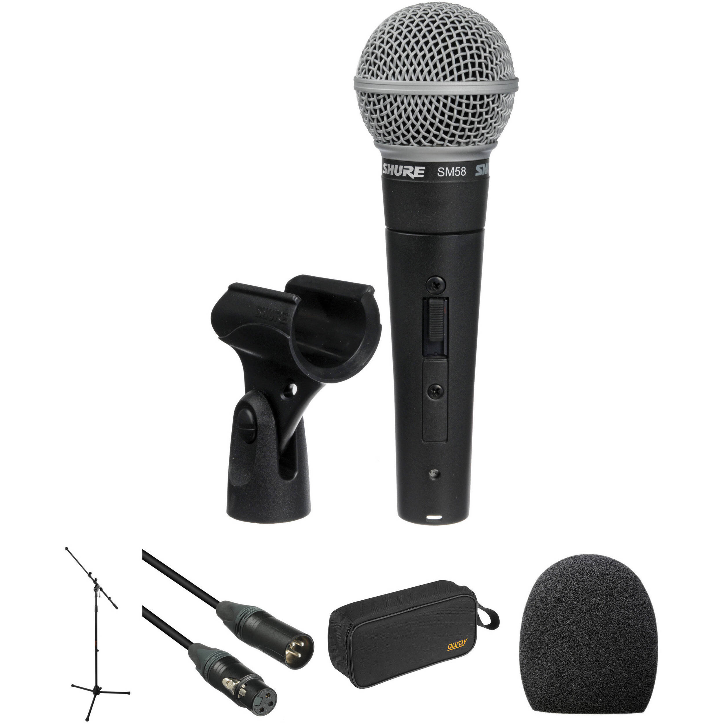 Shure Sm58s Cardioid Microphone Kit Includes Switch Boom Bh Midrange Coustic Ca Sp 300 Mid Stand Cable Case And