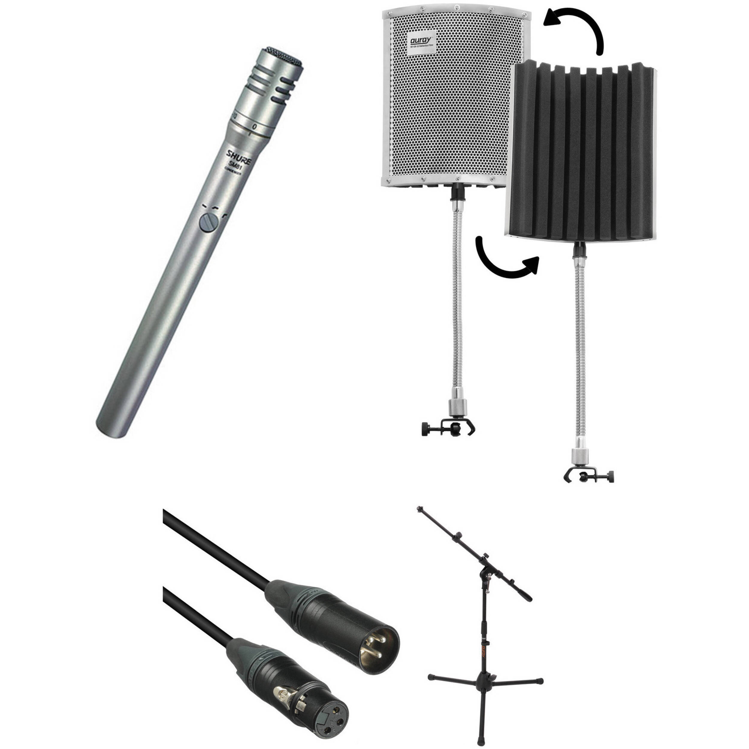 shure sm81 lc microphone kit with reflection filter mic stand. Black Bedroom Furniture Sets. Home Design Ideas