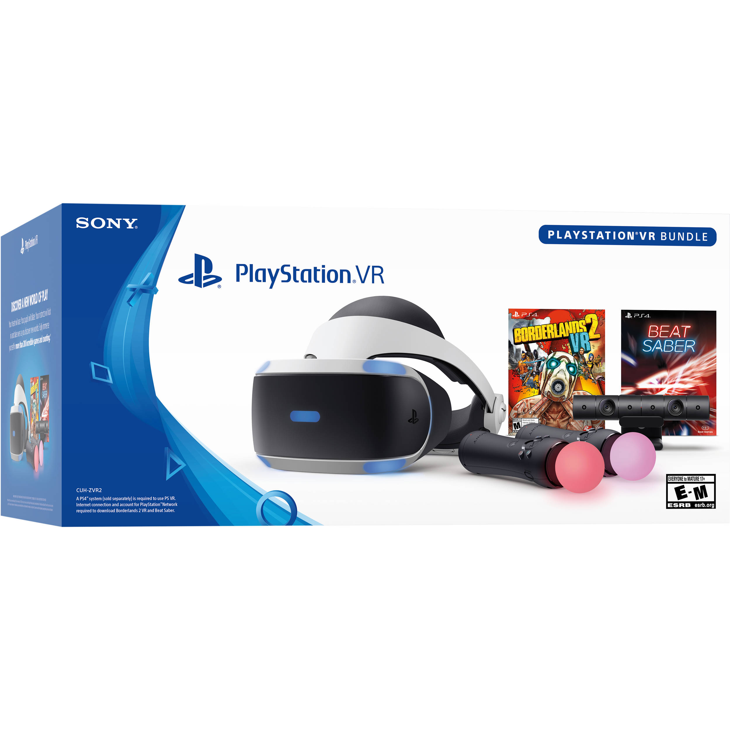 Sony PlayStation VR PS4 PSVR Borderlands 2 Bundle W// Controls /& Camera CUH-ZVR2