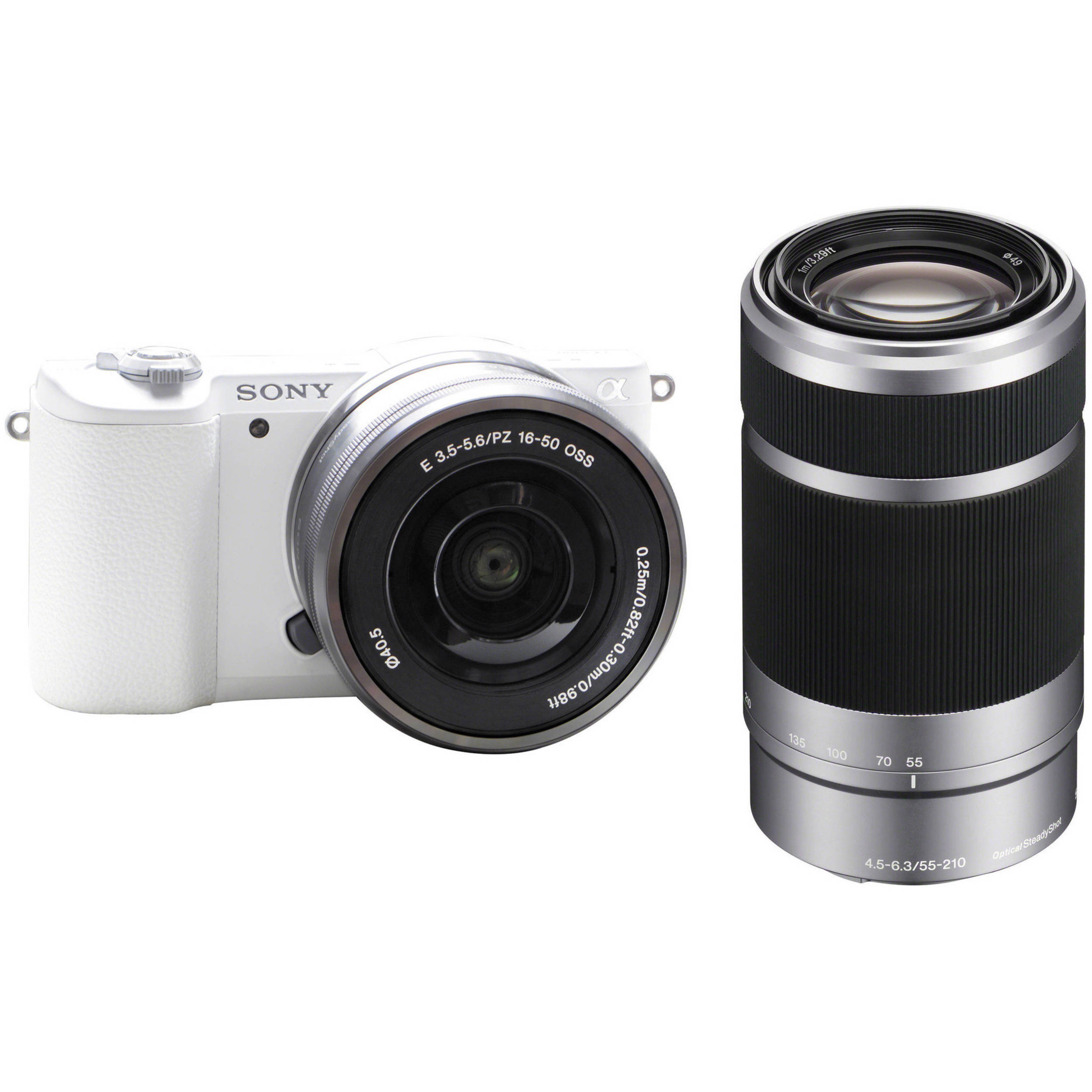 sony 55 210mm. sony alpha a5100 mirrorless digital camera kit with silver 16-50mm and 55- 210mm 55