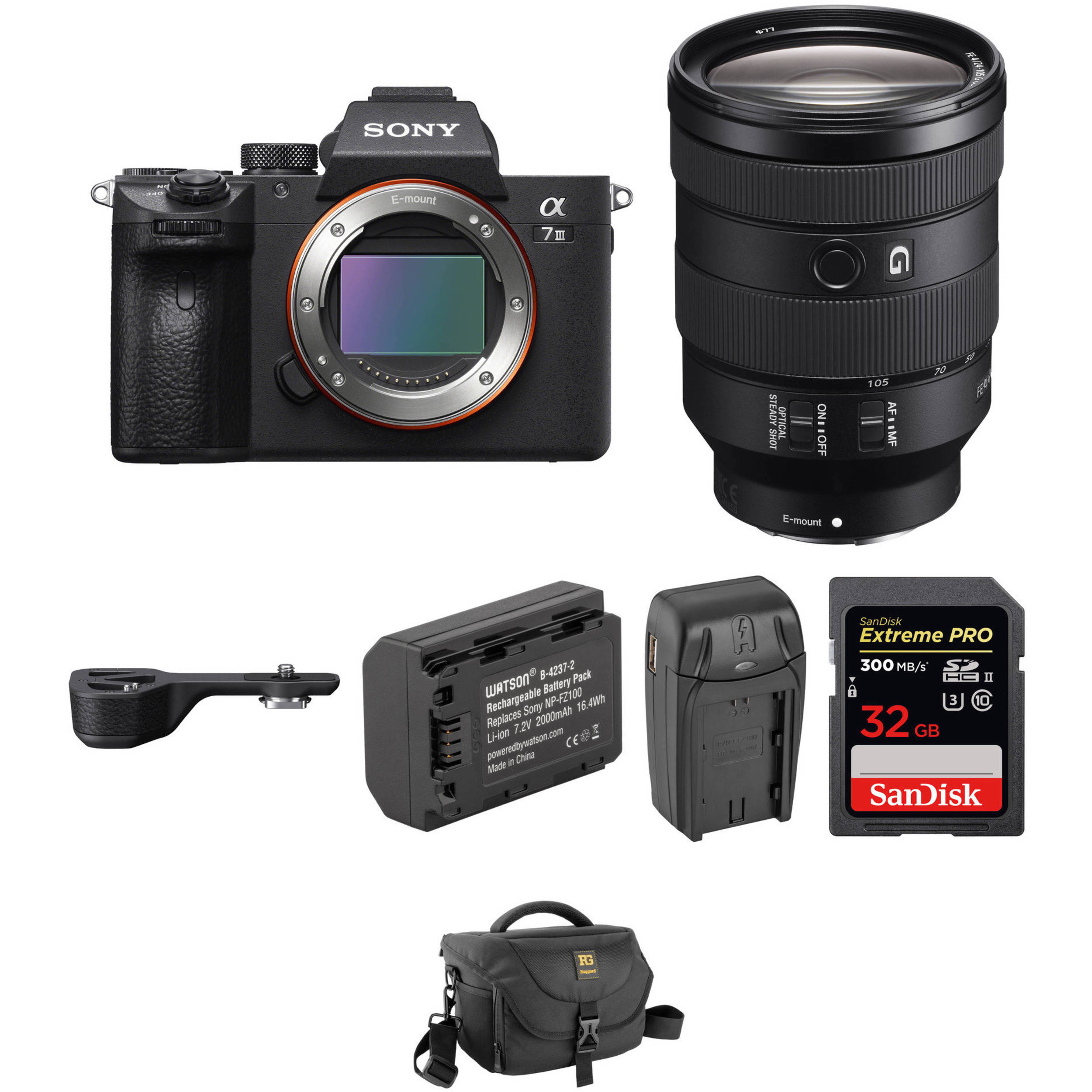 Sony Alpha a7 III Mirrorless Digital Camera with 24-105mm Lens and Grip  Extension Kit