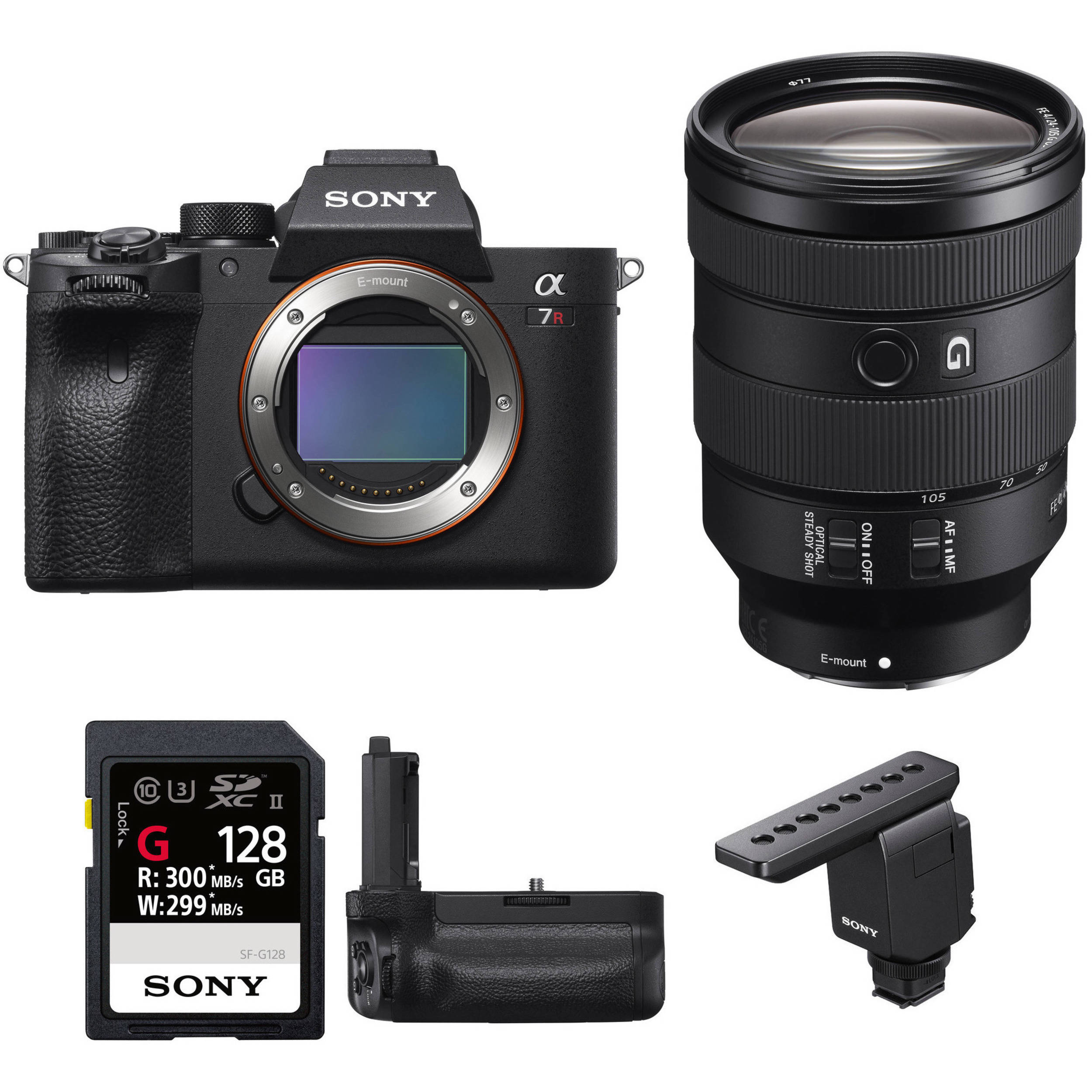 Sony Alpha a7R IV Mirrorless Digital Camera with 24-105mm Lens, Mic, and  Grip Kit