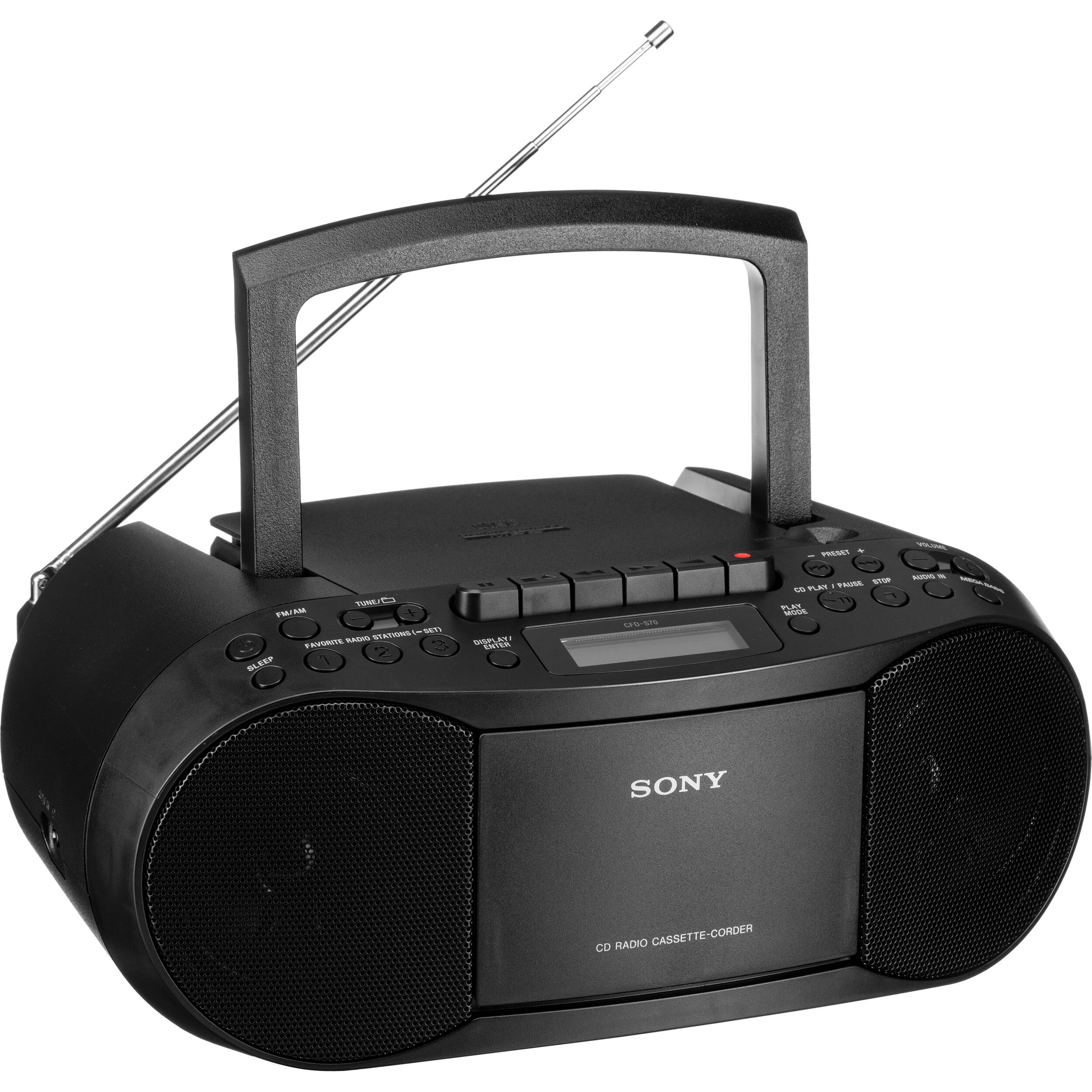sony cfd s70 portable cd cassette boombox cfds70blk b h photo. Black Bedroom Furniture Sets. Home Design Ideas