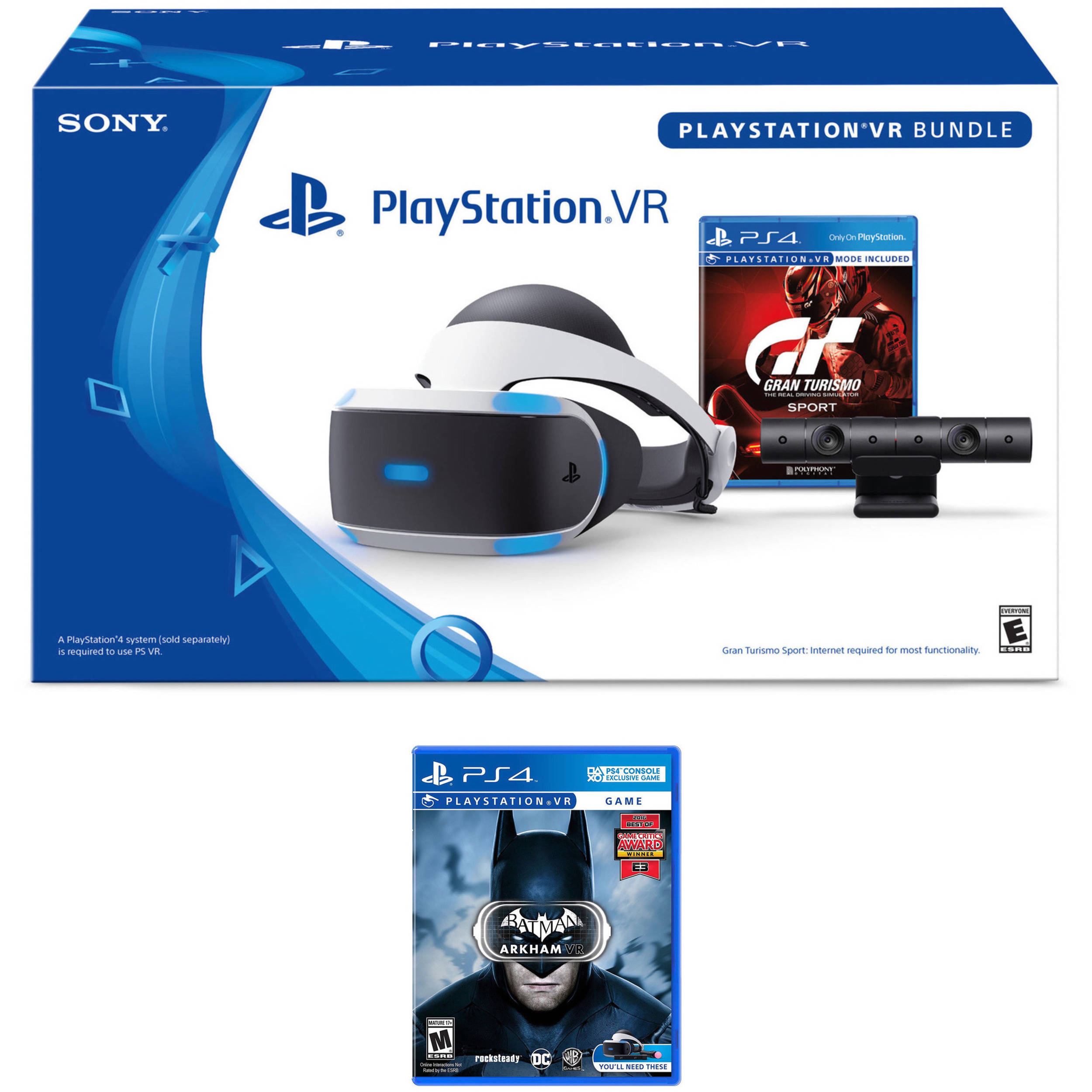 Sony Playstation VR Gran Turismo Sport Bundle Kit With Batman Arkham