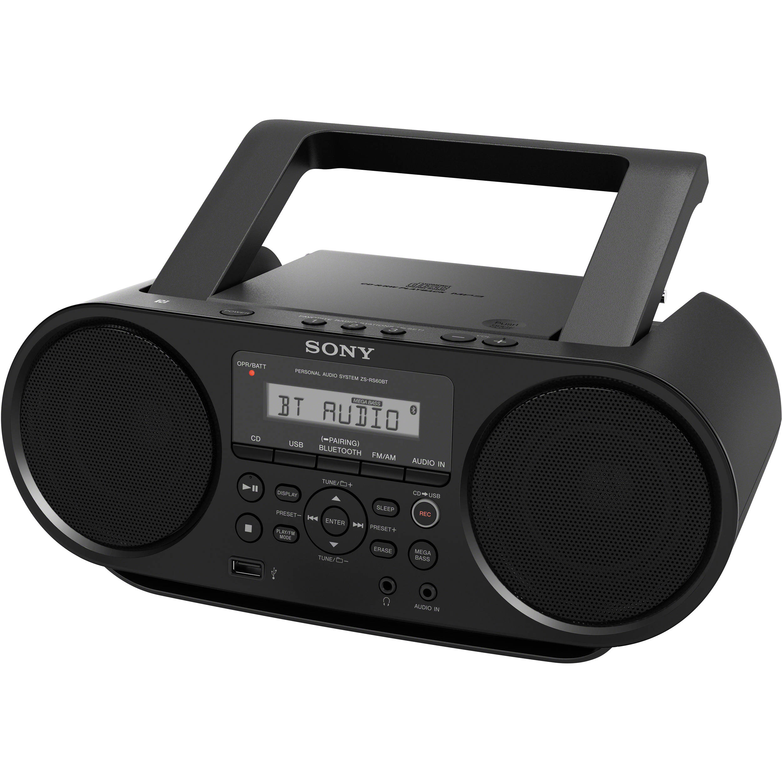 sony zs rs60bt cd boombox zsrs60bt b h photo video. Black Bedroom Furniture Sets. Home Design Ideas