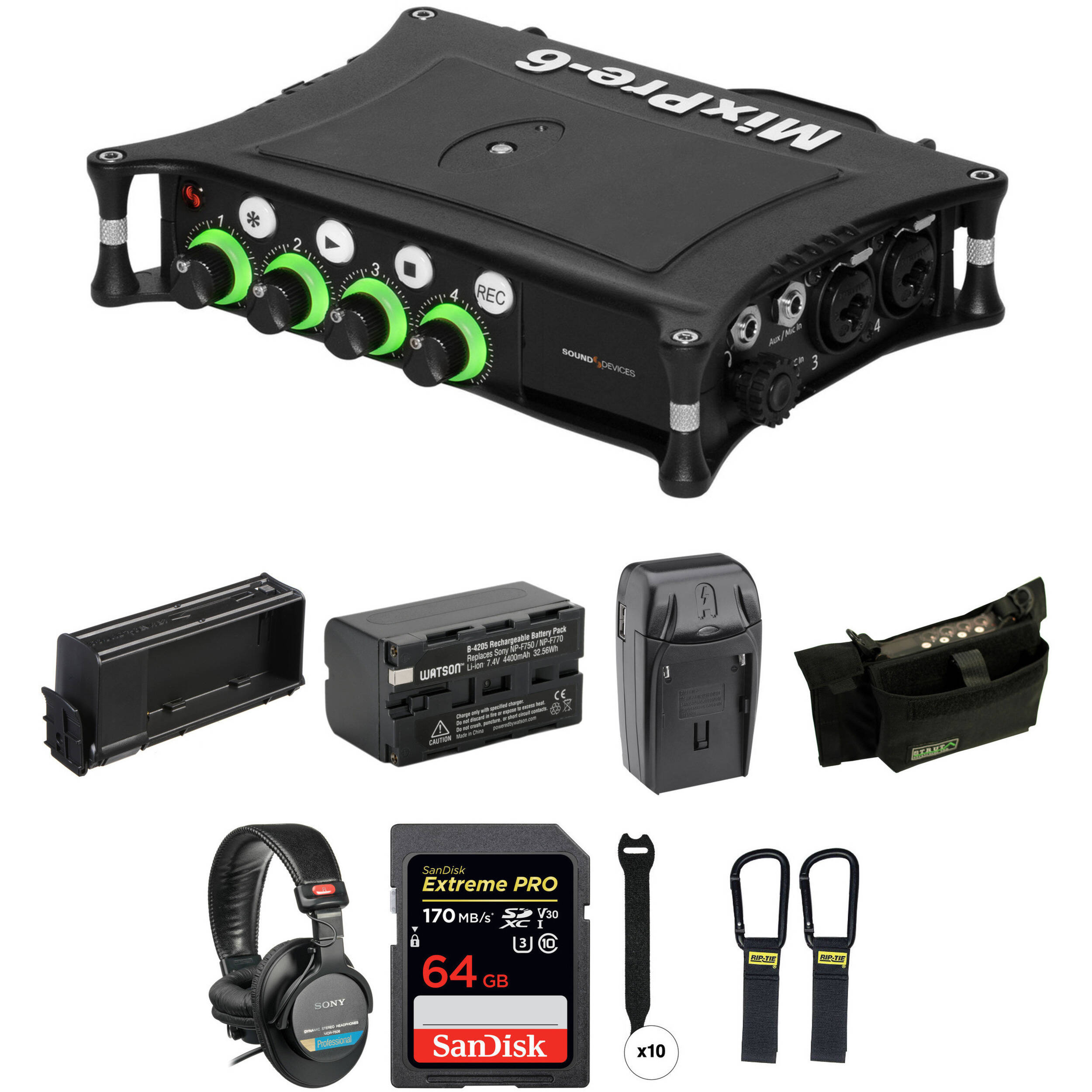 Sound Devices MixPre-6 Essentials Kit with Case, Li-Ion Battery,