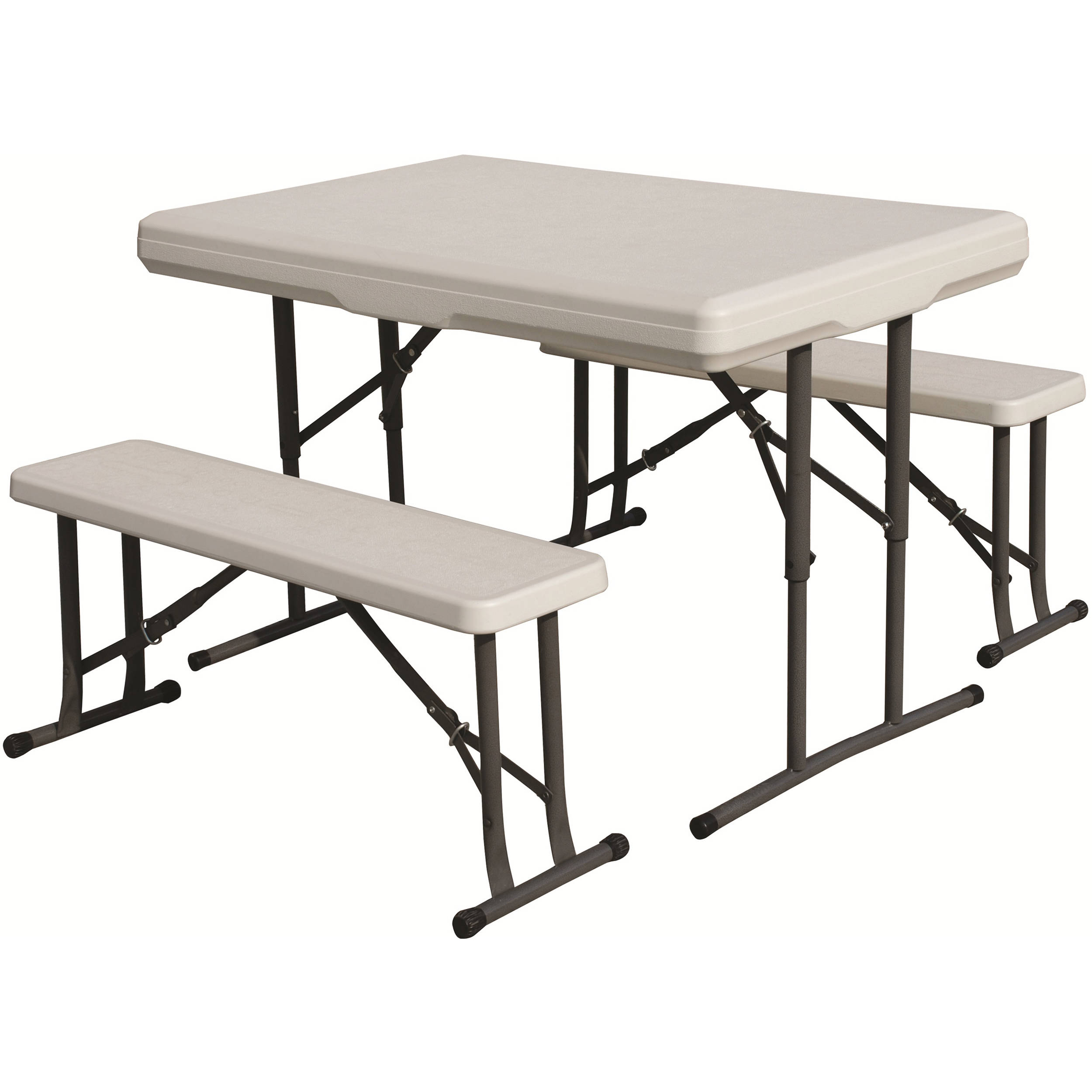 Stansport Folding Table With Bench Seats White 616 B H Photo