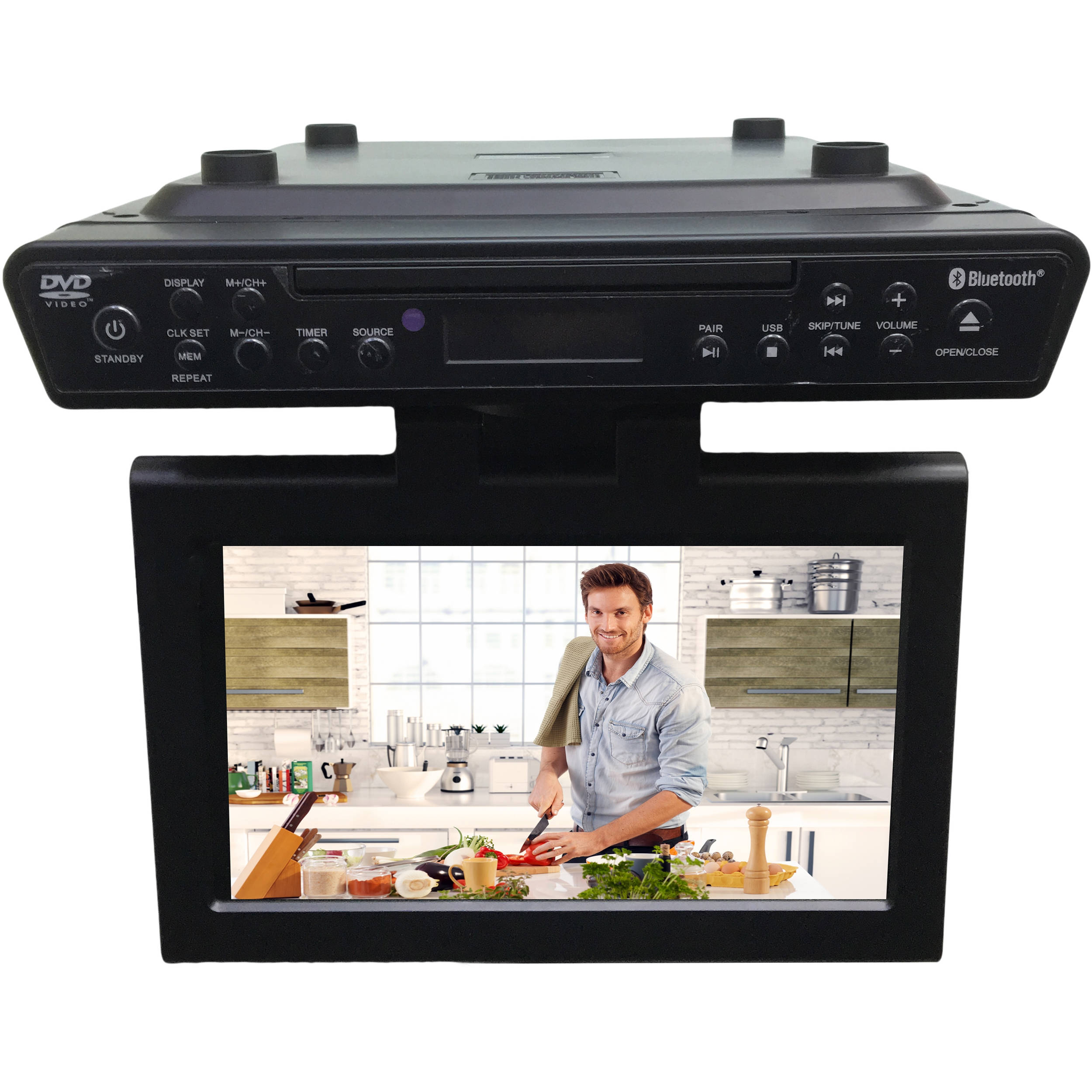 kitchen televisions under cabinet sylvania skcr2706bt 10 1 quot counter led skcr2706bt b amp h 22069