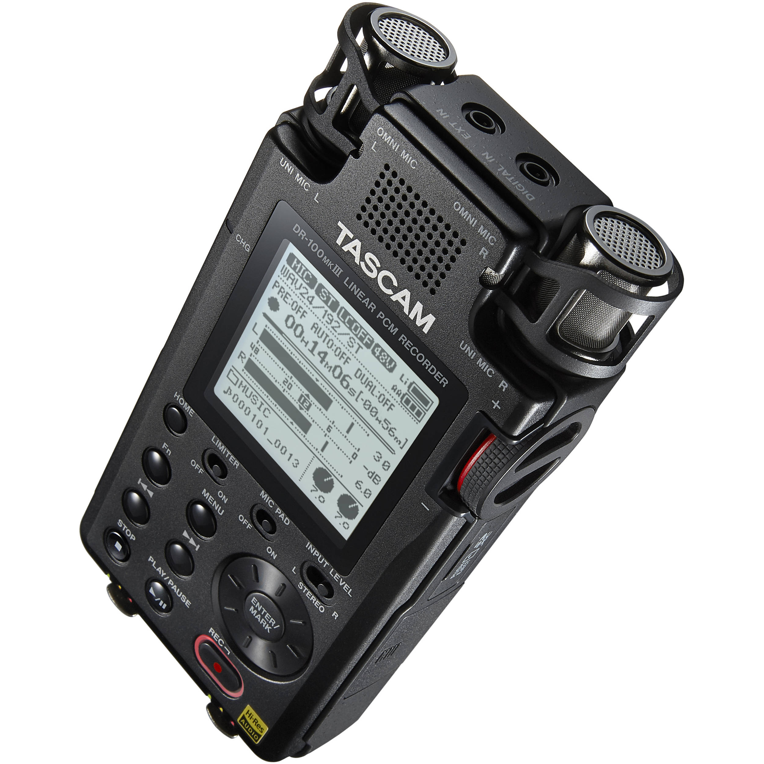 tascam dr 100mkiii linear pcm recorder dr 100mkiii b h photo rh bhphotovideo com