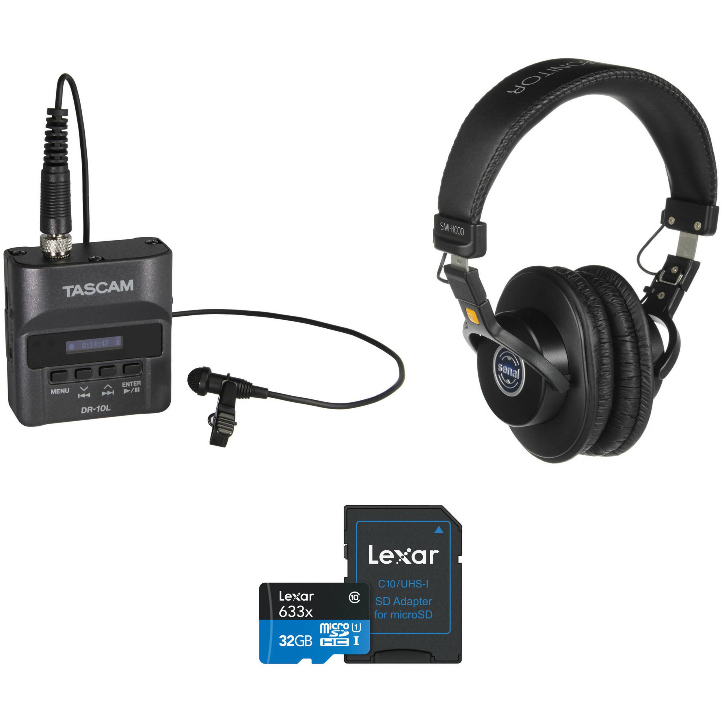 tascam dr 10l digital audio recorder kit with monitor headphones. Black Bedroom Furniture Sets. Home Design Ideas