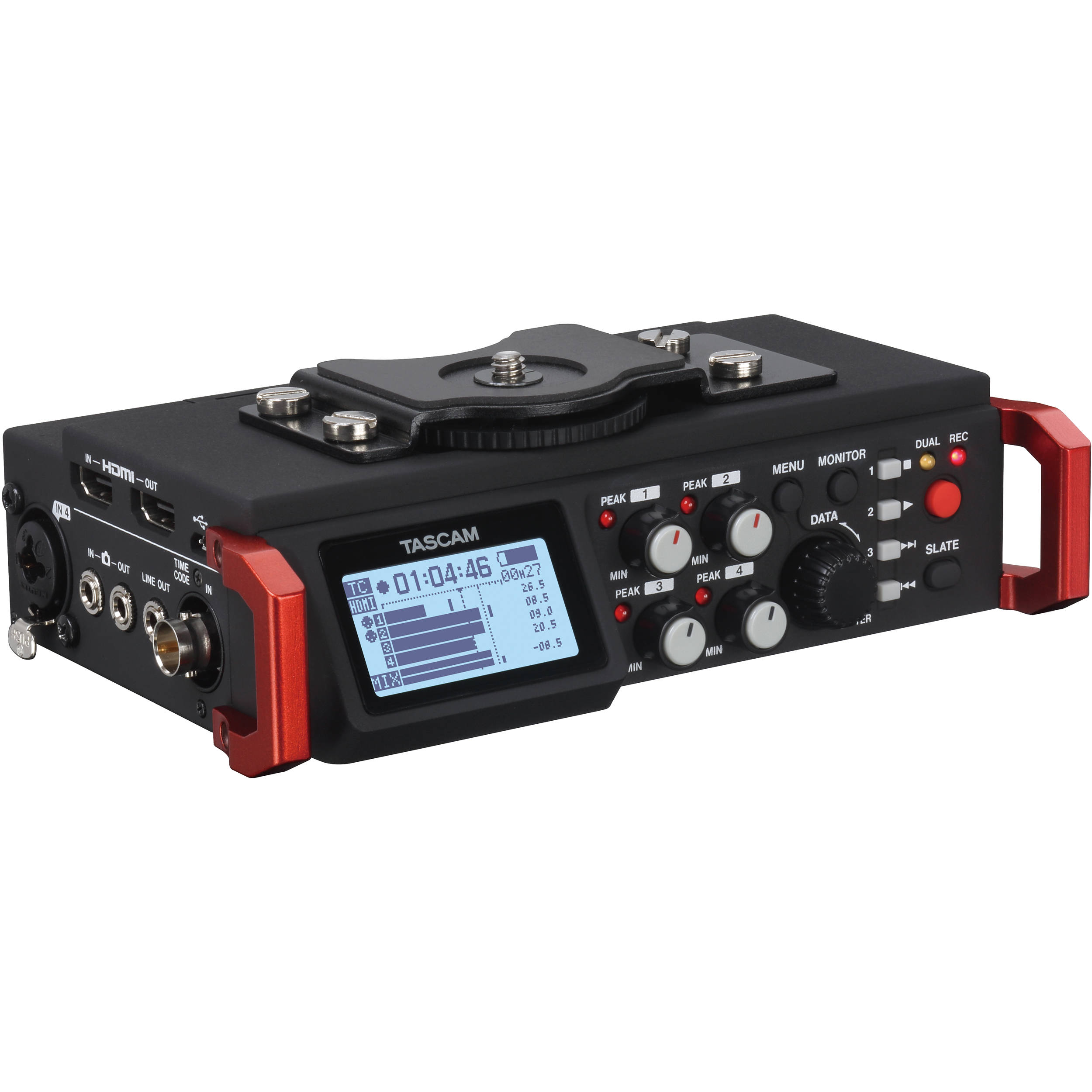 tascam dr 701d 6 track field recorder for dslr dr 701d b h photo tascam dr 701d 6 track field recorder for dslr smpte timecode