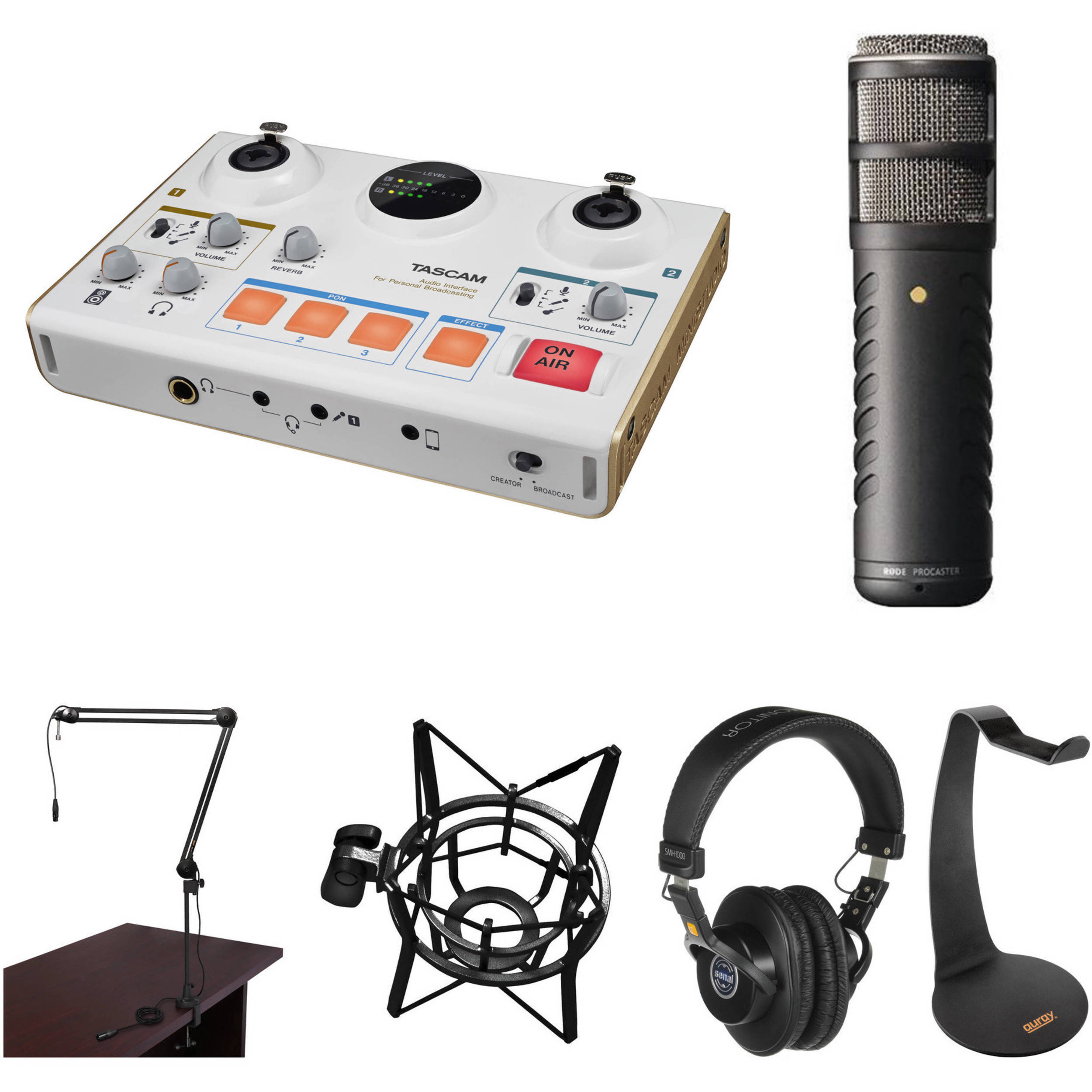 Ministudio Creator Us 42 Podcast Studio With One Rode Procaster Dynamic Mic Senal Headphones And Broadcast Arm Kit Explore Nes Circuit Bend More Audio Tascam
