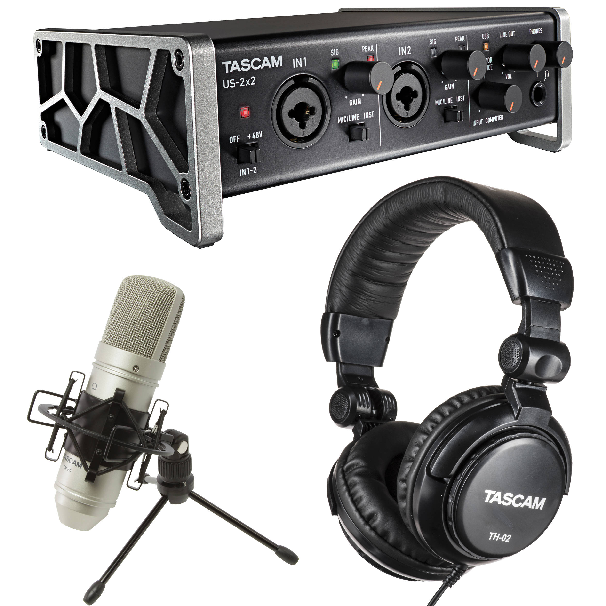 tascam trackpack 2x2 recording package us 2x2tp b h photo video. Black Bedroom Furniture Sets. Home Design Ideas