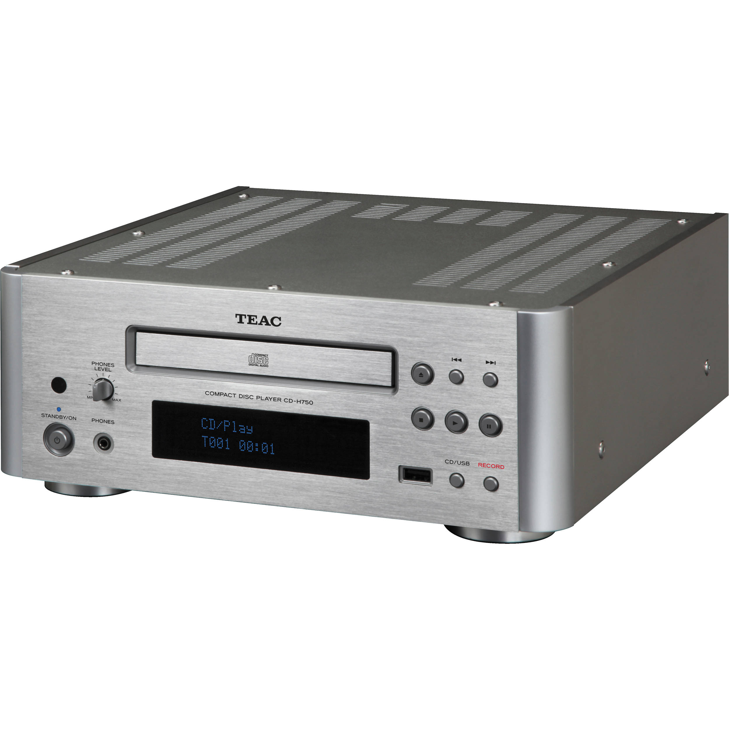 teac cd h750 compact disc player silver cd h750 s b h photo. Black Bedroom Furniture Sets. Home Design Ideas