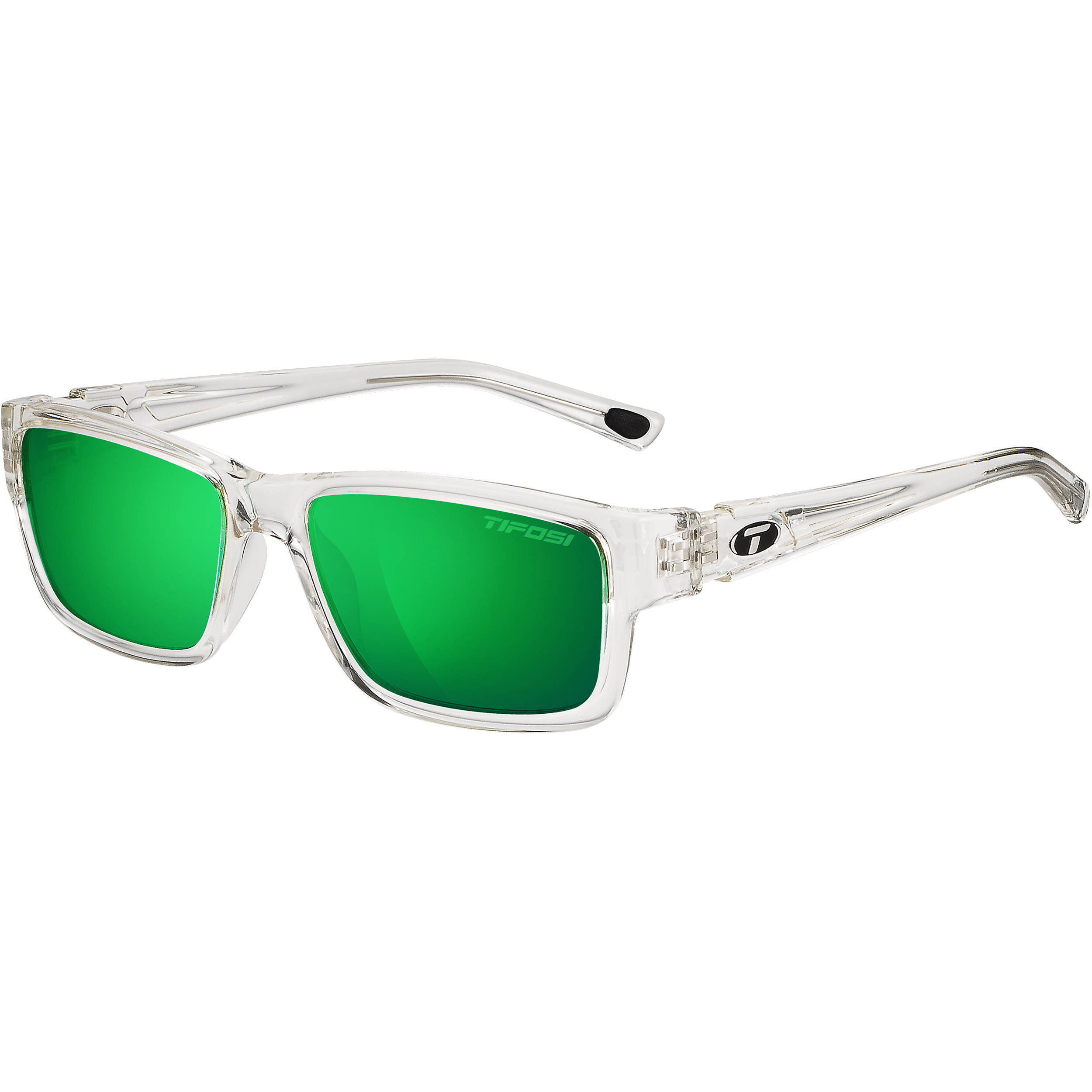 tifosi hagen sunglasses crystal clear frames polarized clarion green lenses