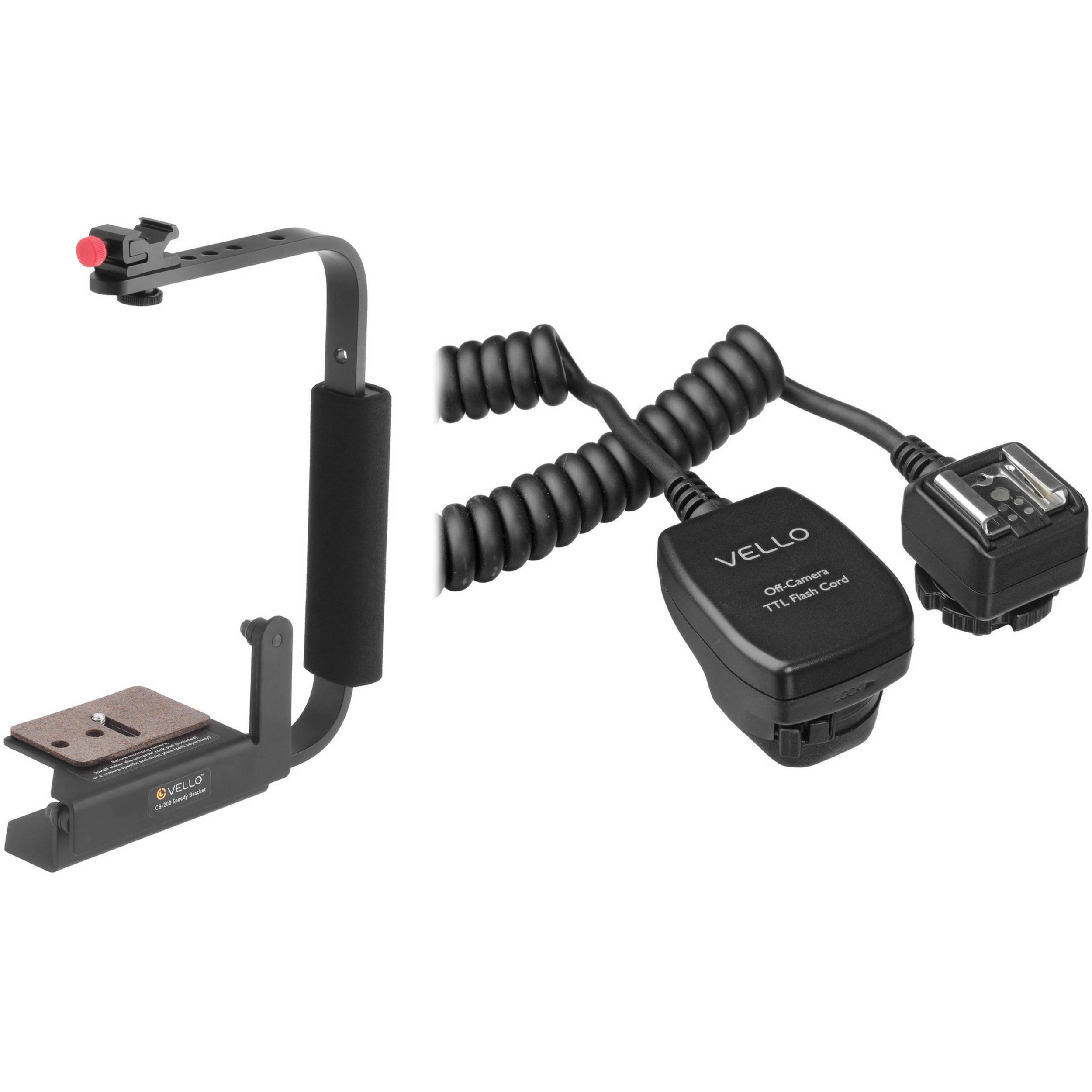 Photography Flash Brackets: Vello Speedy Camera Rotating Flash Bracket With TTL CB-200-KC