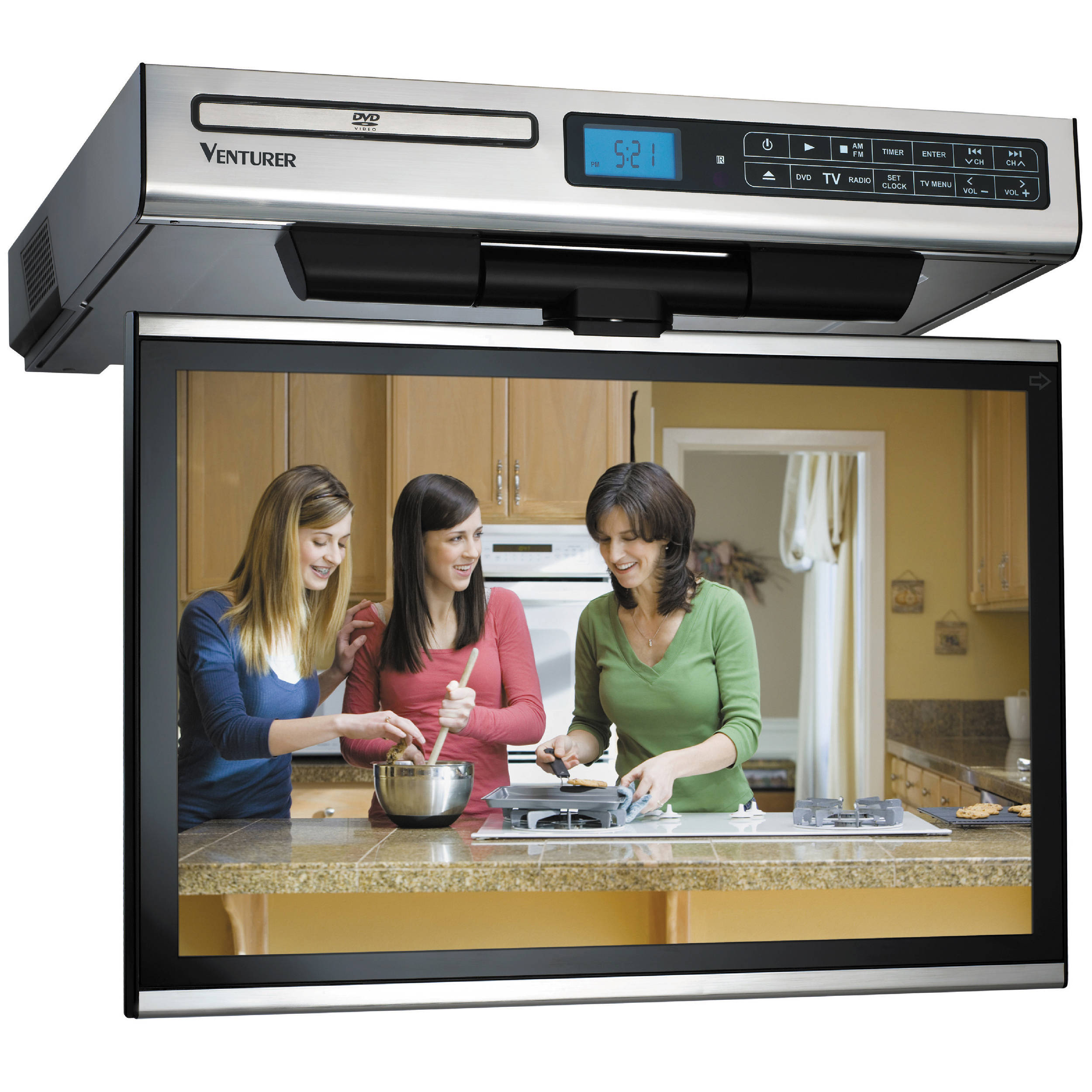 kitchen televisions under cabinet venturer klv3915 15 4 quot kitchen lcd tv dvd combo klv3915 b amp h 22069