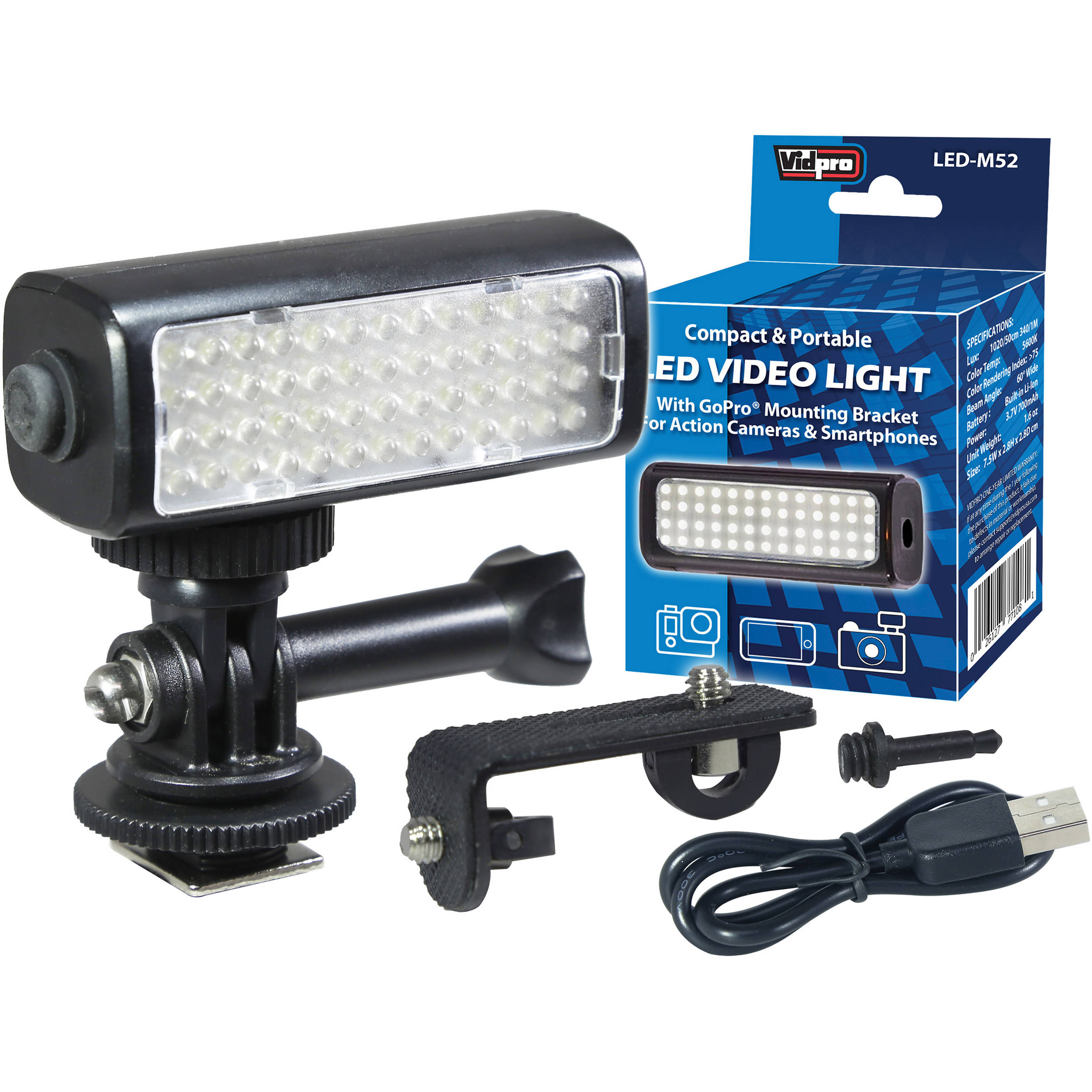 Vidpro Mini Led Video Light Kit For Action Cameras Camcorders And Smartphones