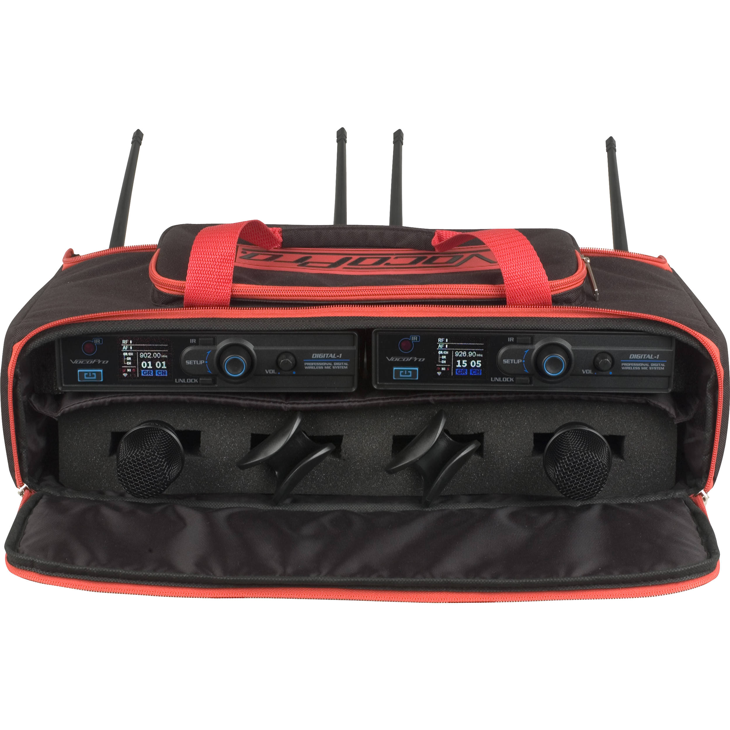 VocoPro Digital 1 Twin Pack 2 Wireless Handheld Mic Package With Carrying Bag