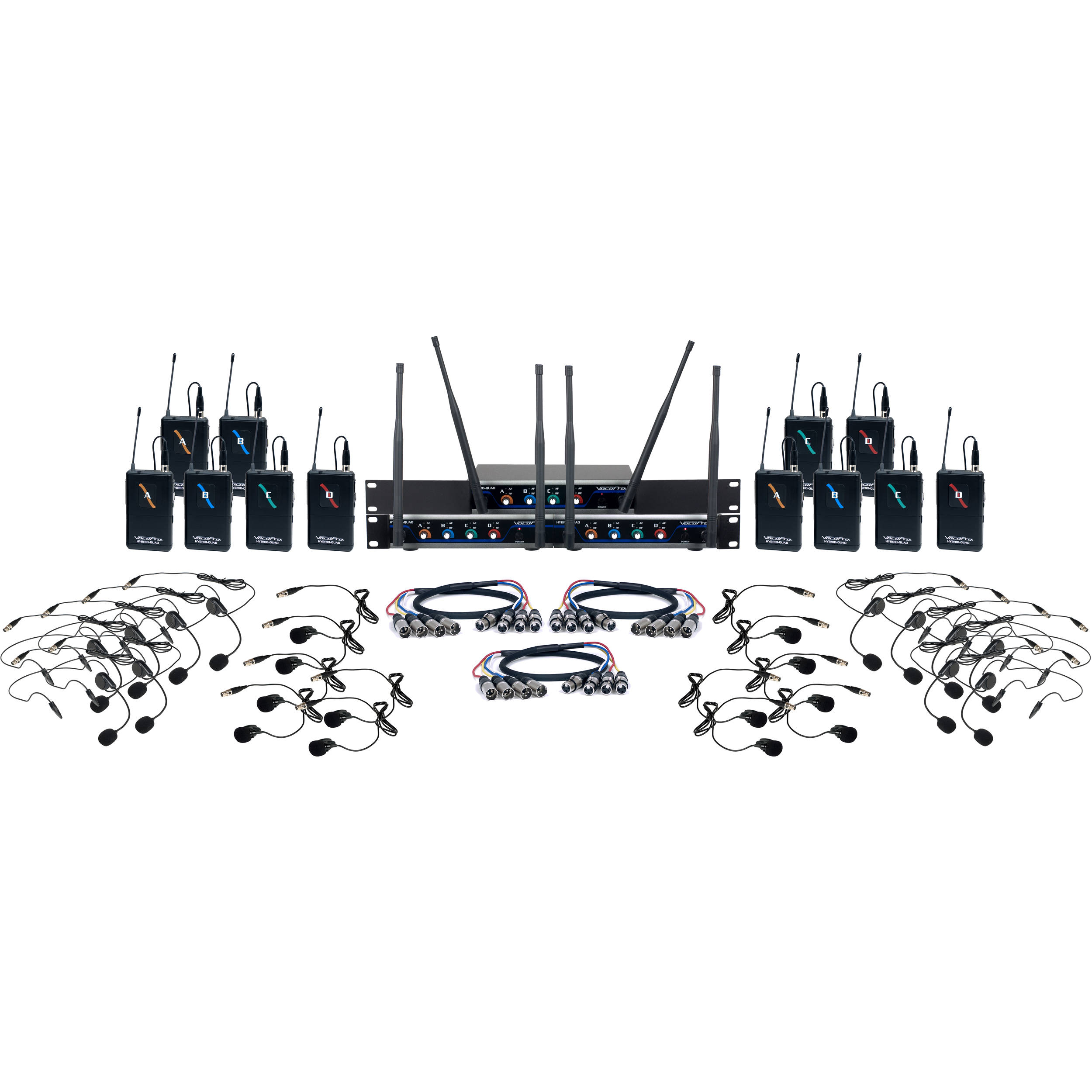 VocoPro Digital Play 12 Channel UHF System With Headset Lavalier Mics 900 MHz